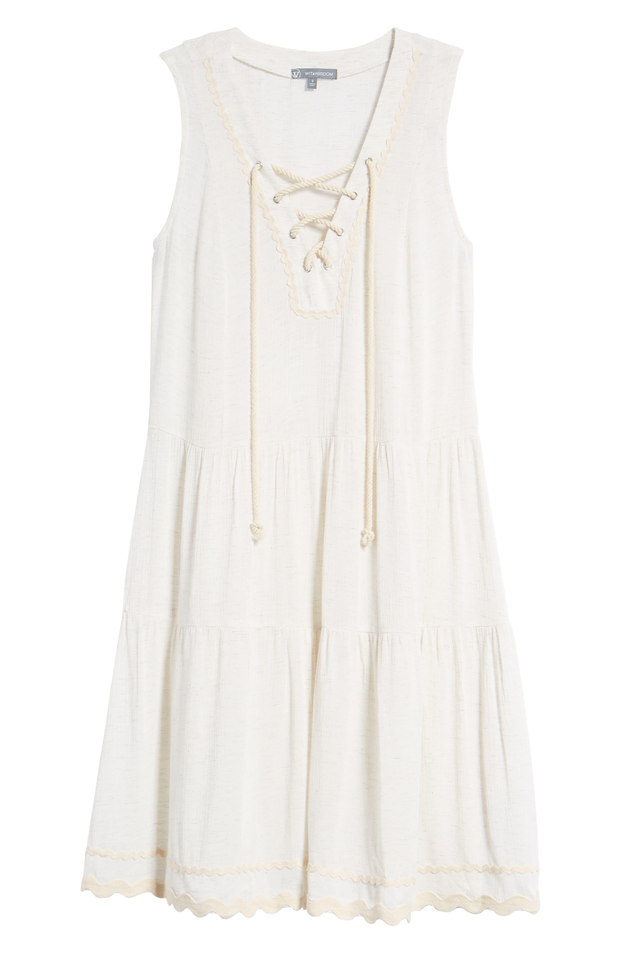 Rickrack Lace-Up Gauze Dress,                             Alternate thumbnail 7, color,                             101