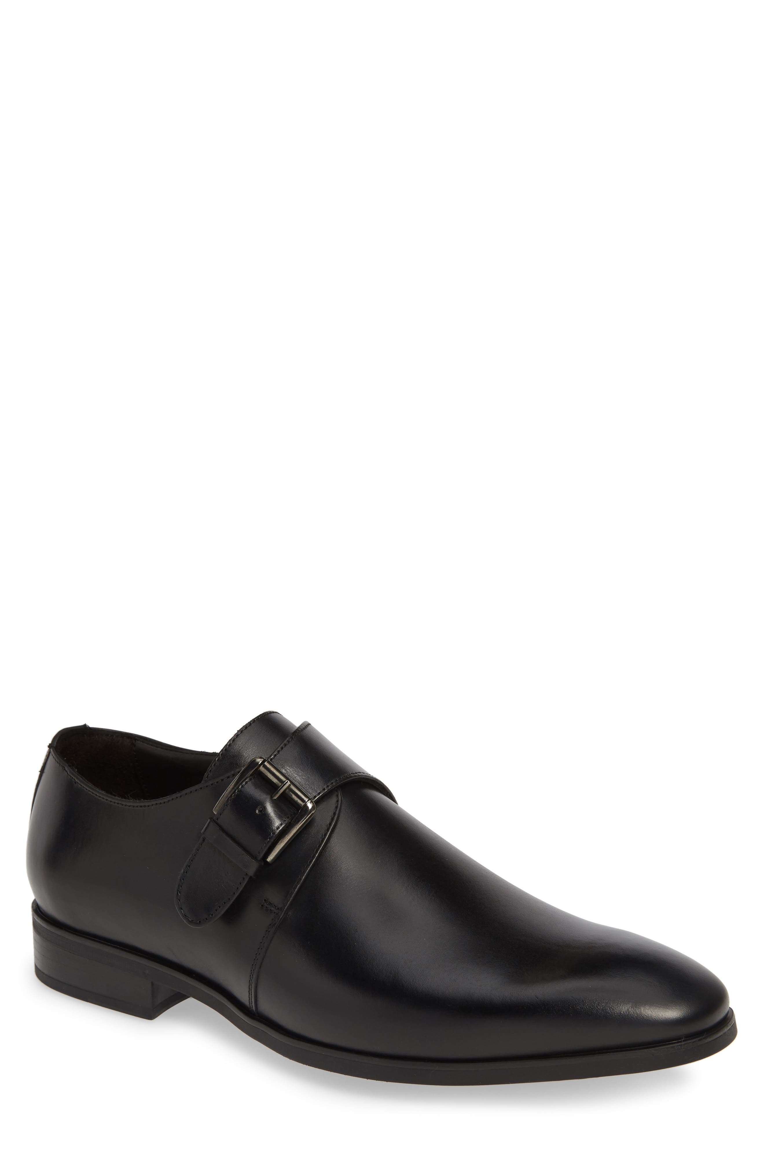 Scarpa Monk Strap Shoe, Main, color, BLACK LEATHER