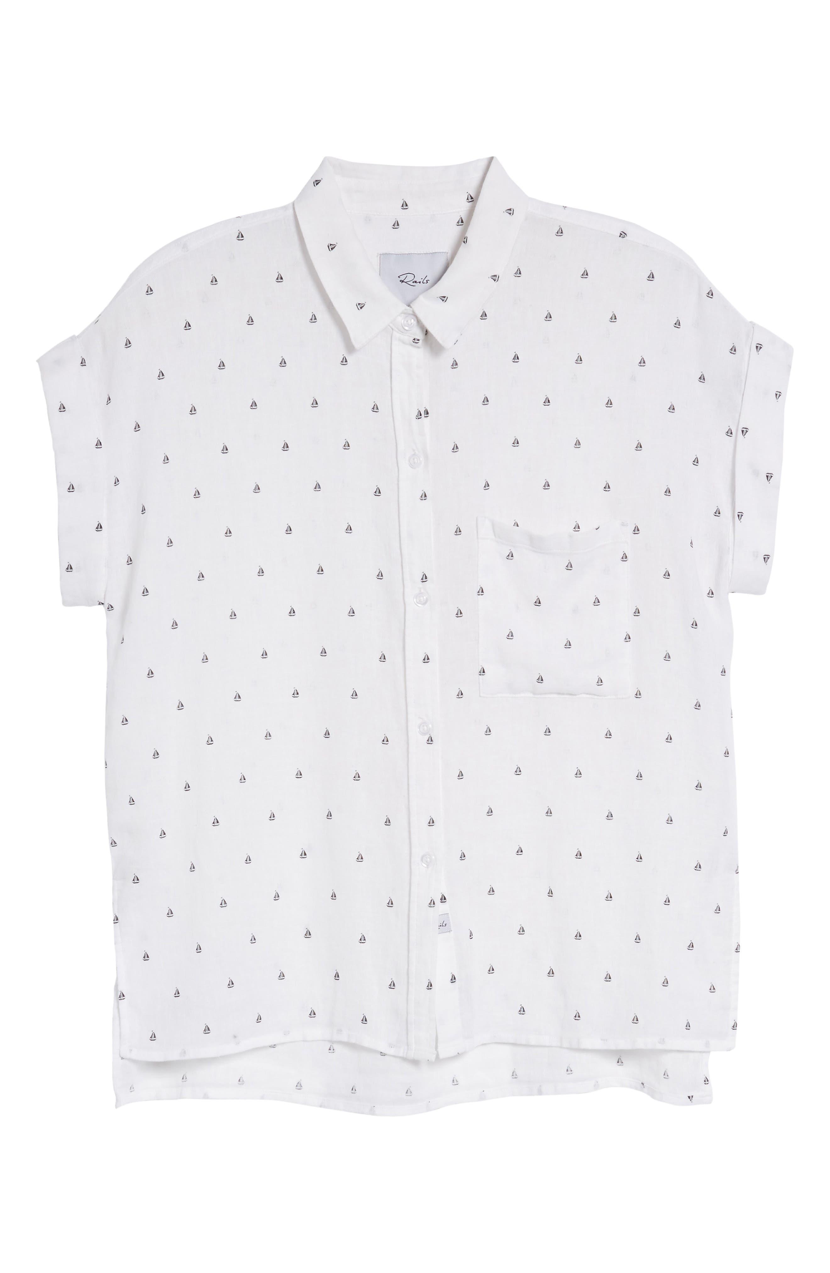 Whitney Sailboat Print Linen Blend Shirt,                             Alternate thumbnail 7, color,                             102