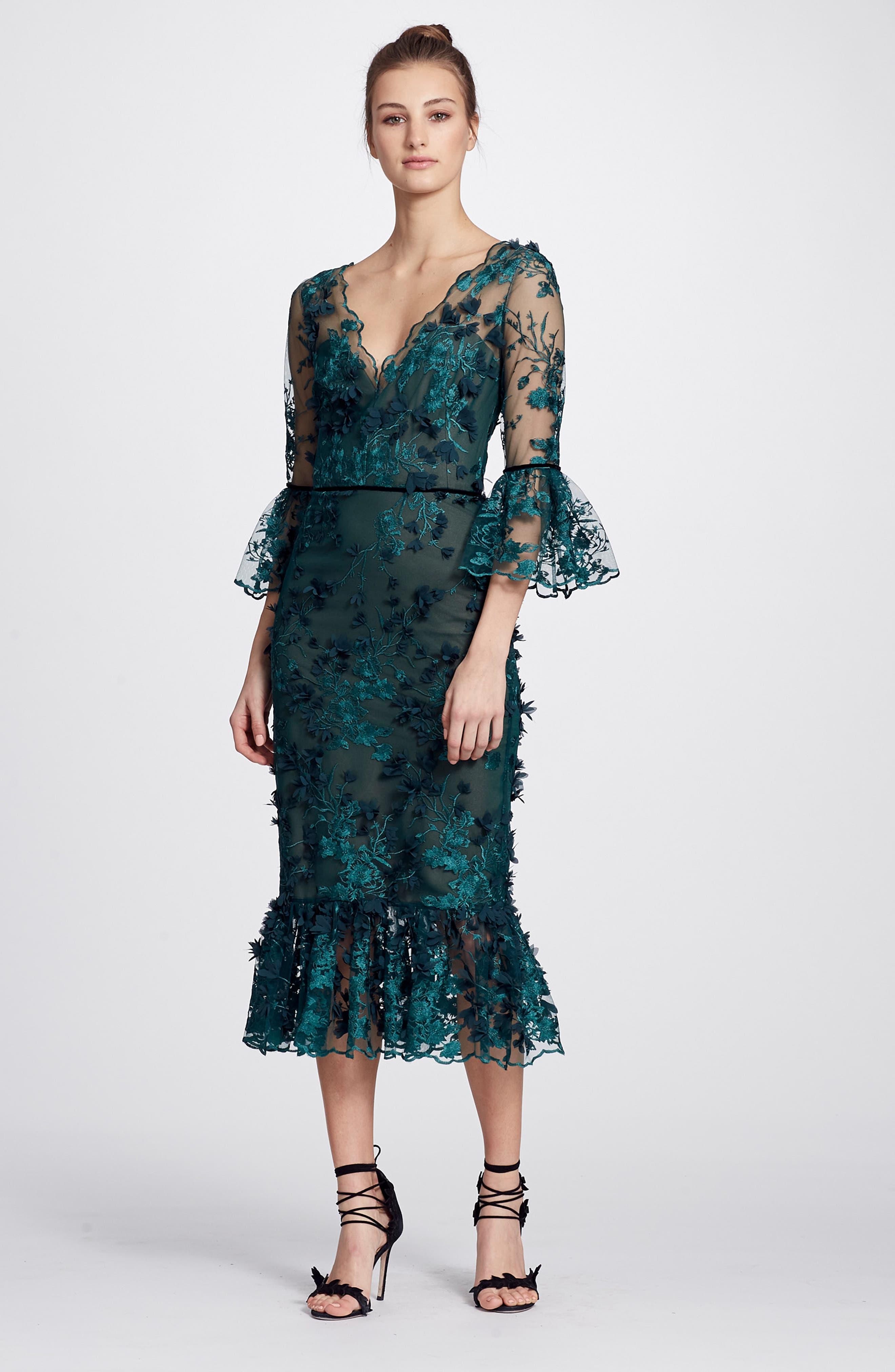 MARCHESA NOTTE,                             Embroidered Ruffle Trim Sheath Dress,                             Alternate thumbnail 6, color,                             300