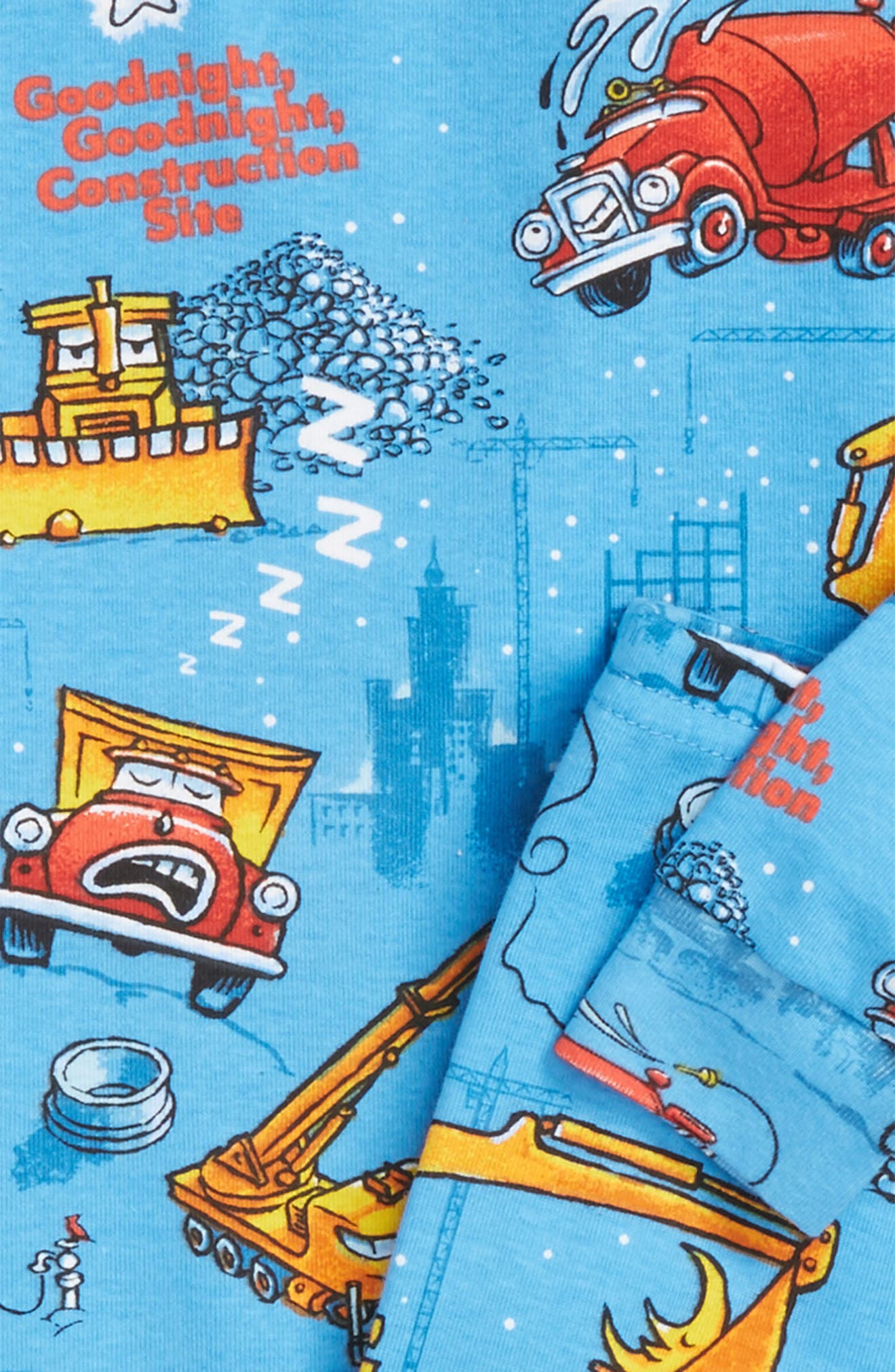 Goodnight Construction Site Fitted Two-Piece Pajamas & Book Set,                             Alternate thumbnail 2, color,