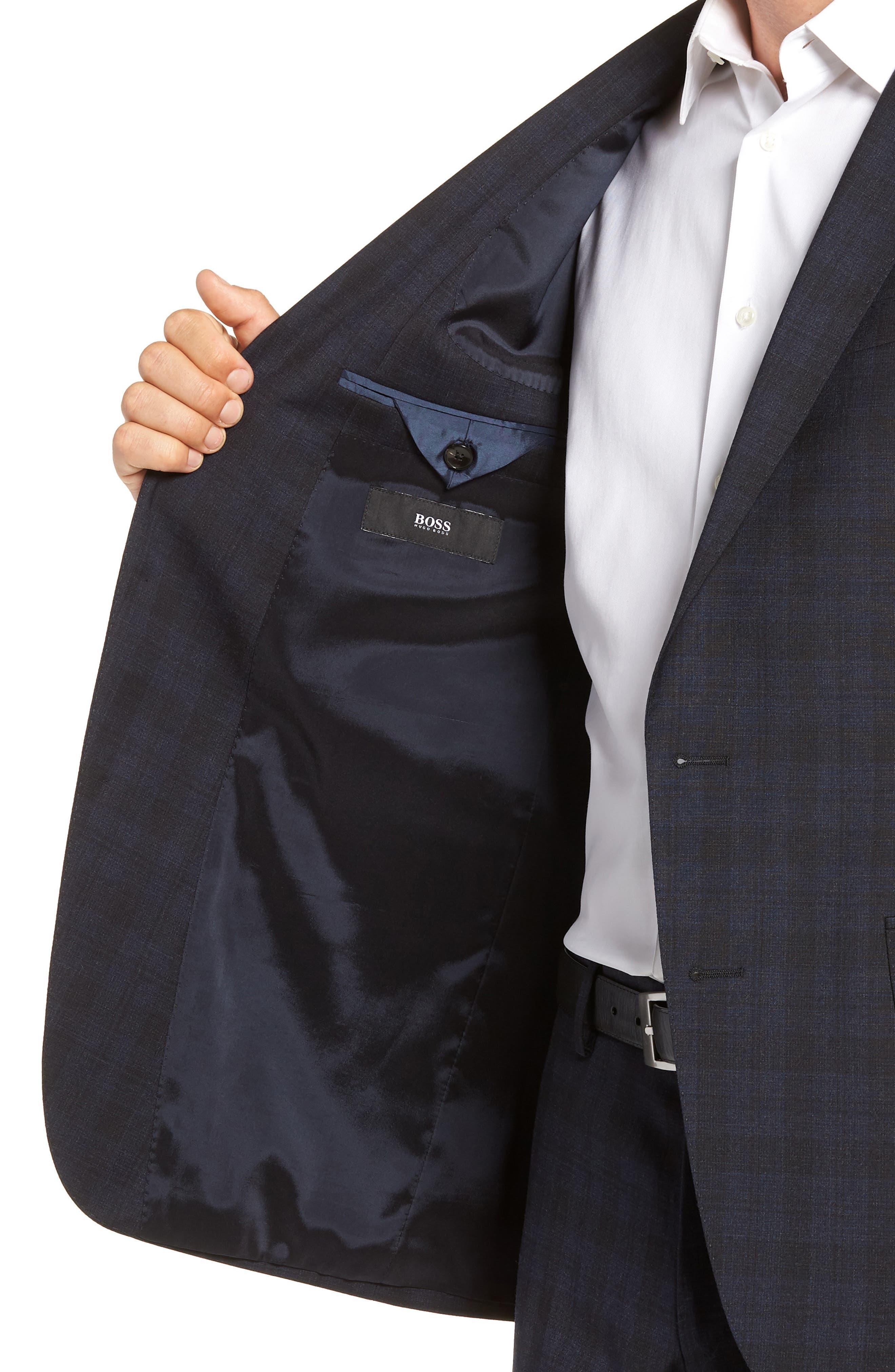 Huge/Genius Trim Fit Stretch Plaid Wool Suit,                             Alternate thumbnail 4, color,                             BLUE
