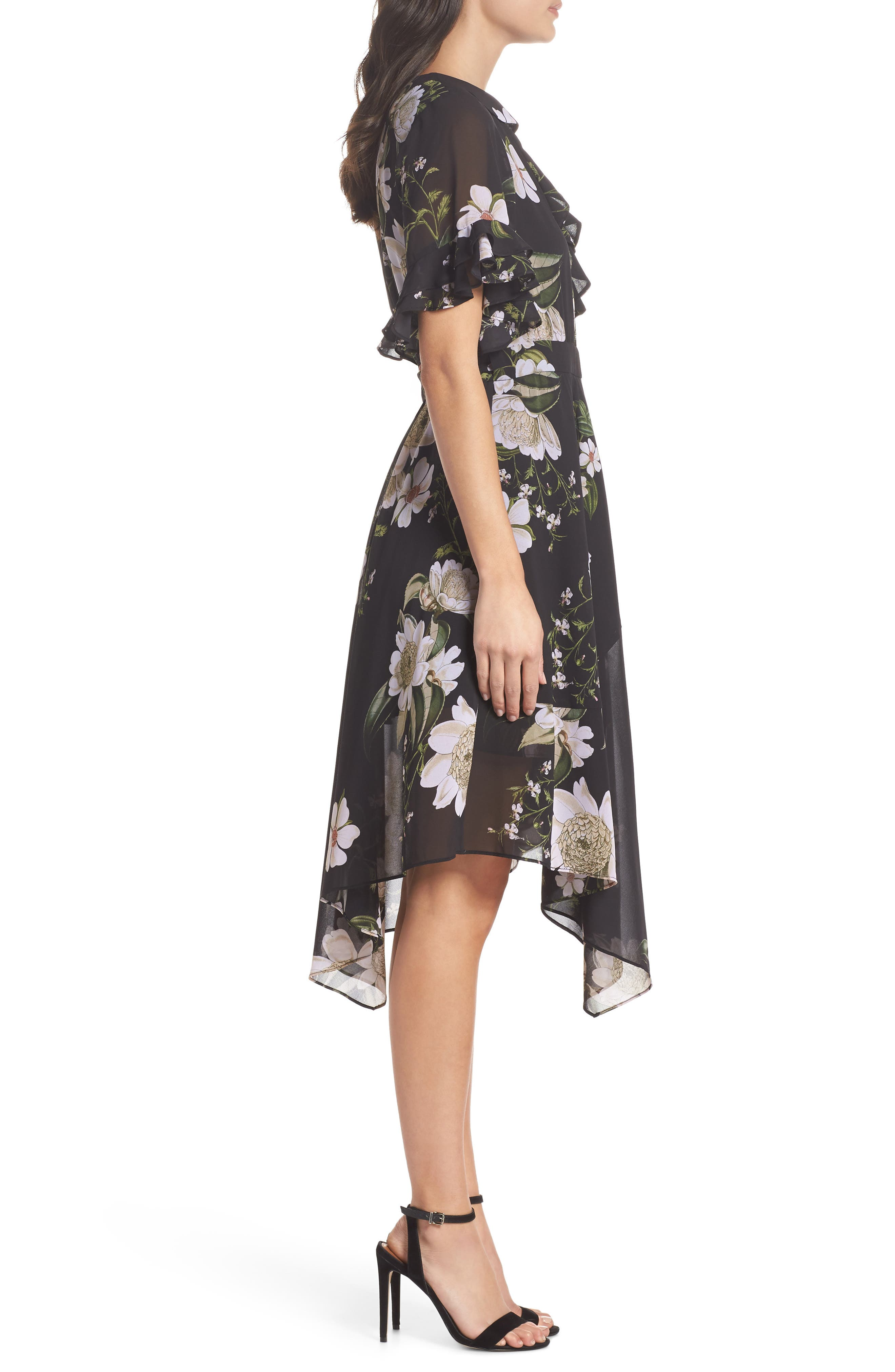 Floral Print Wrap Dress,                             Alternate thumbnail 3, color,                             001