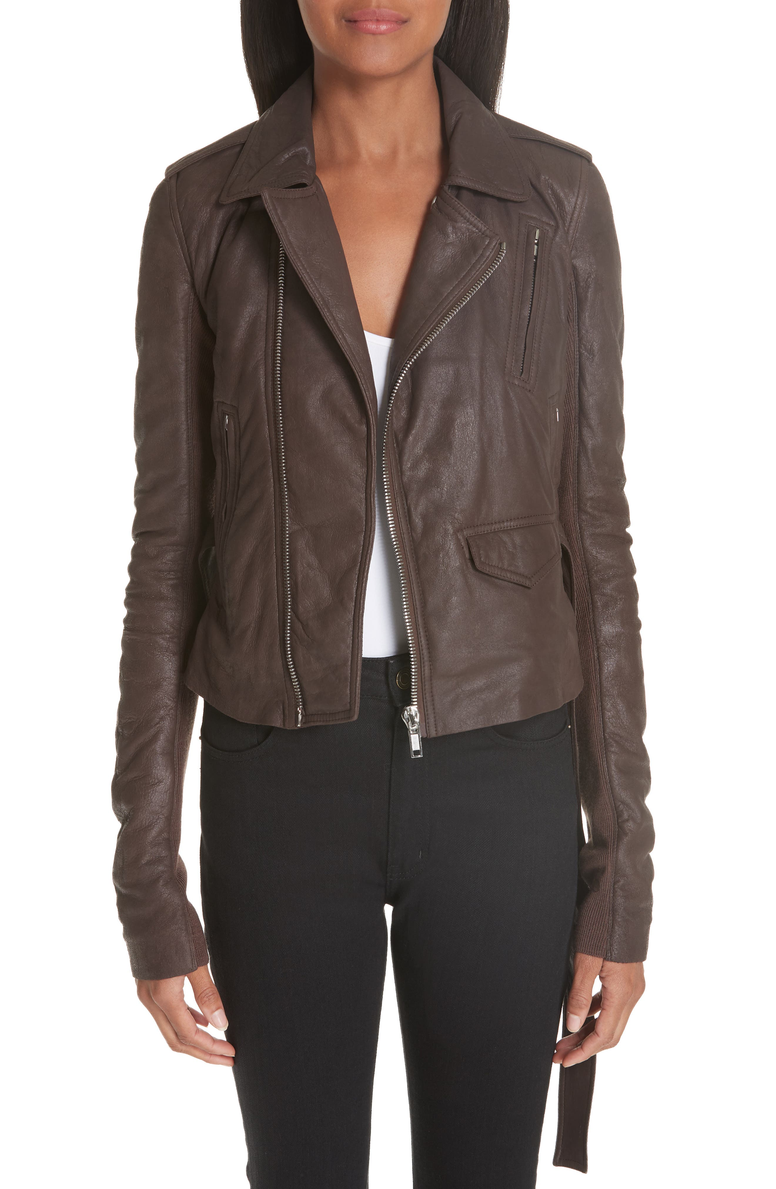 Stooges Belted Leather Jacket,                             Main thumbnail 1, color,                             201