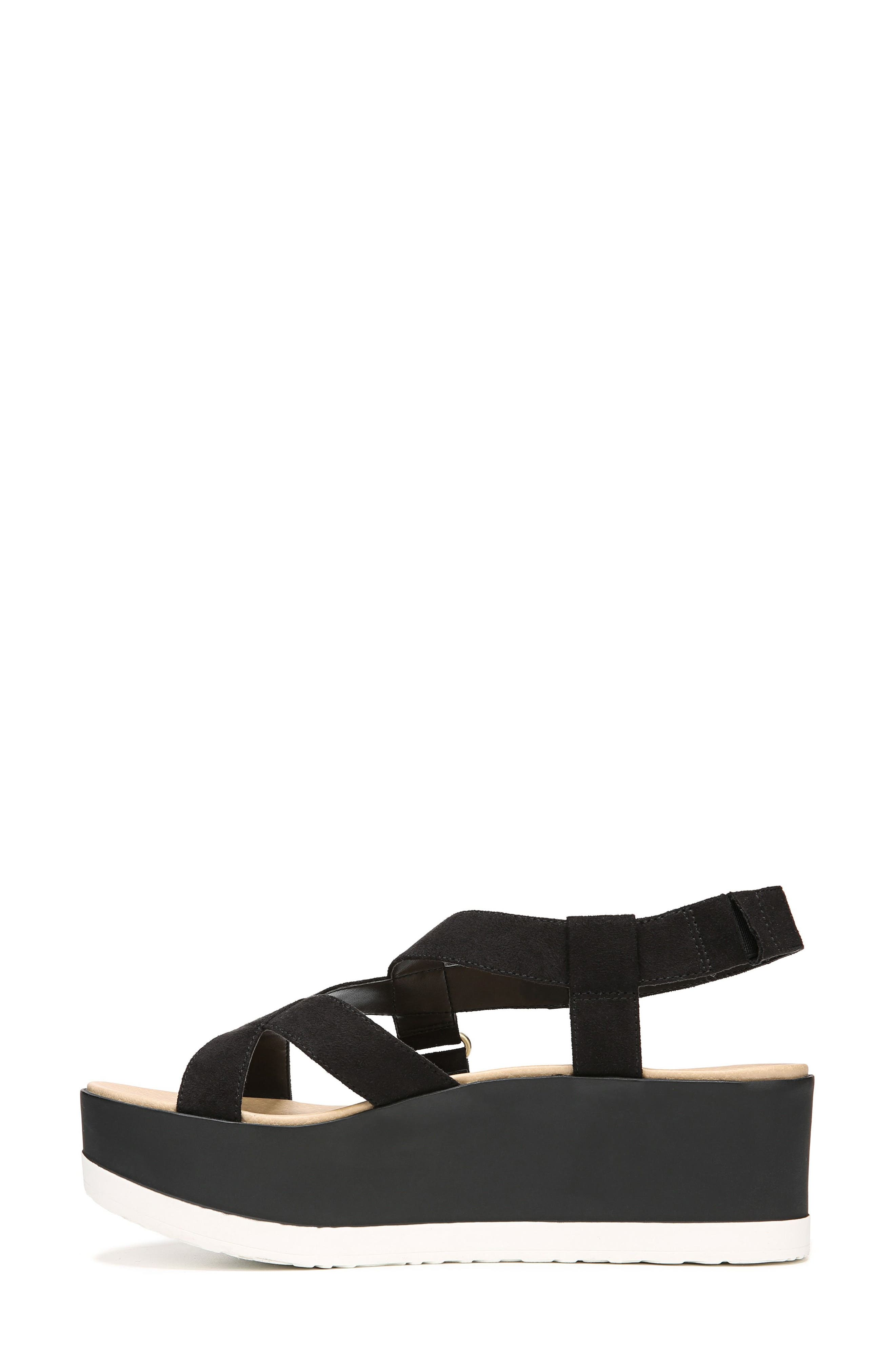 Companion Platform Sandal,                             Alternate thumbnail 3, color,                             BLACK FABRIC