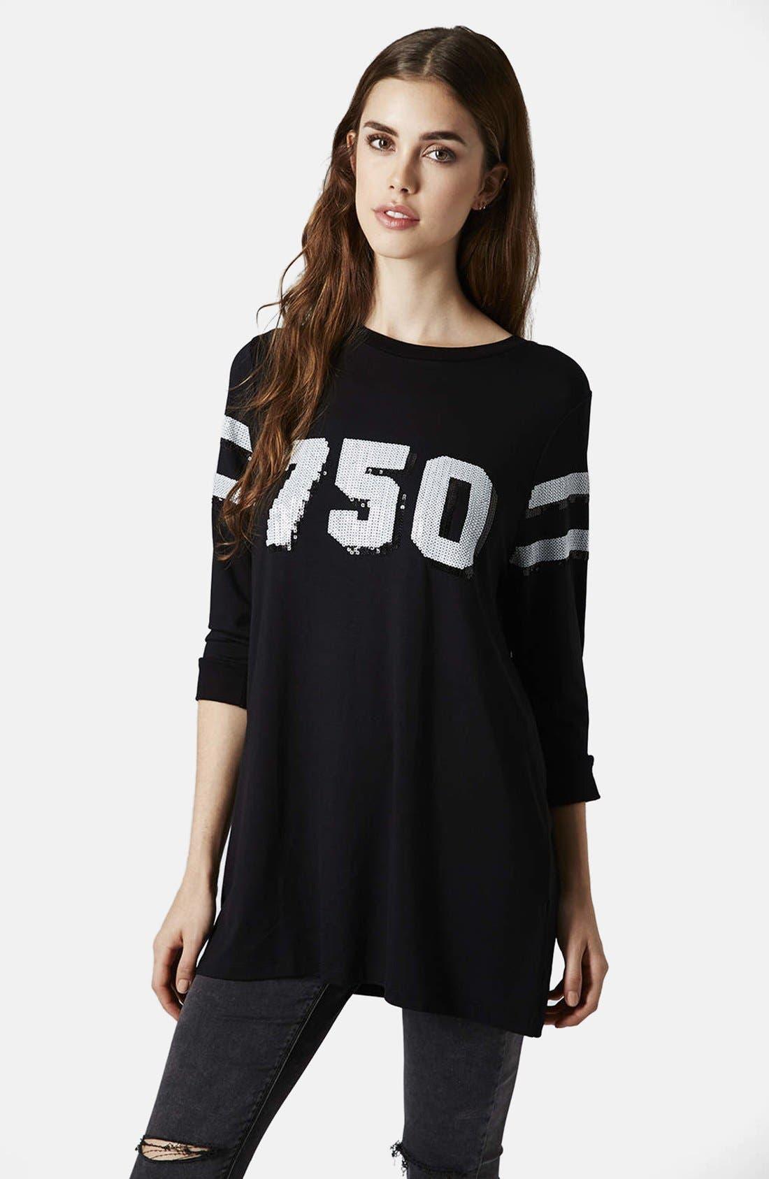 TOPSHOP,                             '750' Sequin Tunic,                             Main thumbnail 1, color,                             001