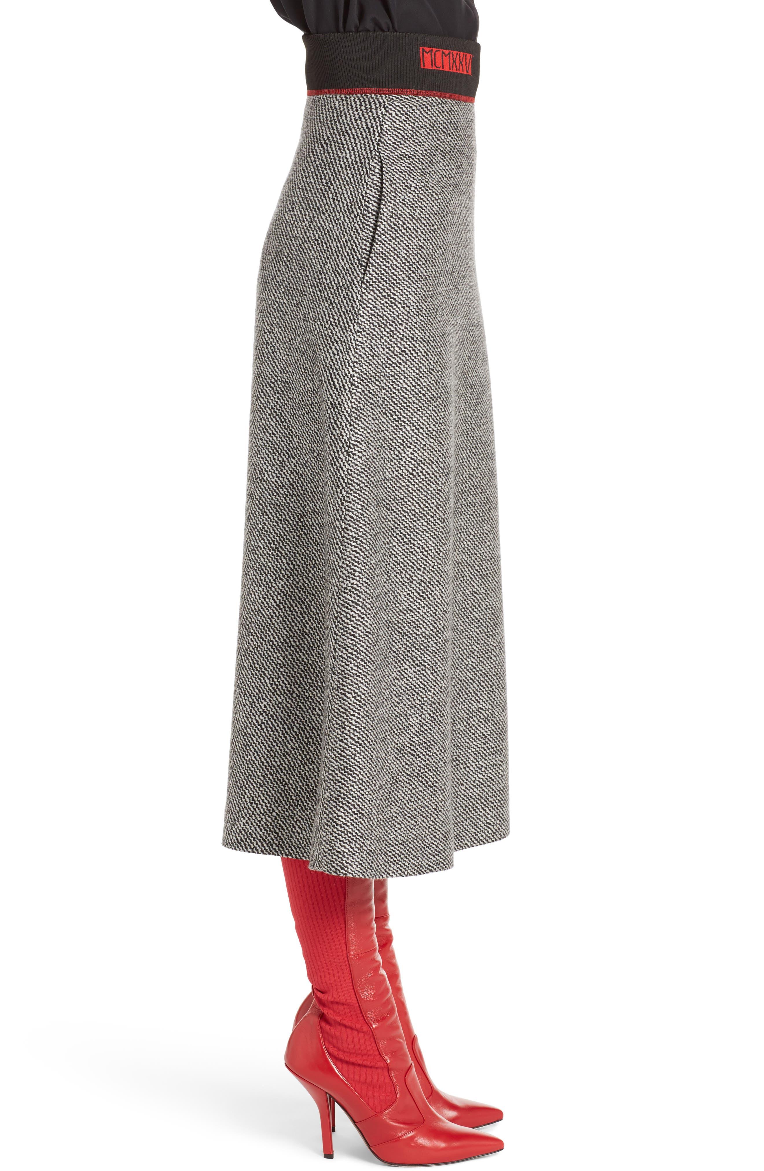 Chevron Knit A-Line Skirt,                             Alternate thumbnail 3, color,                             008
