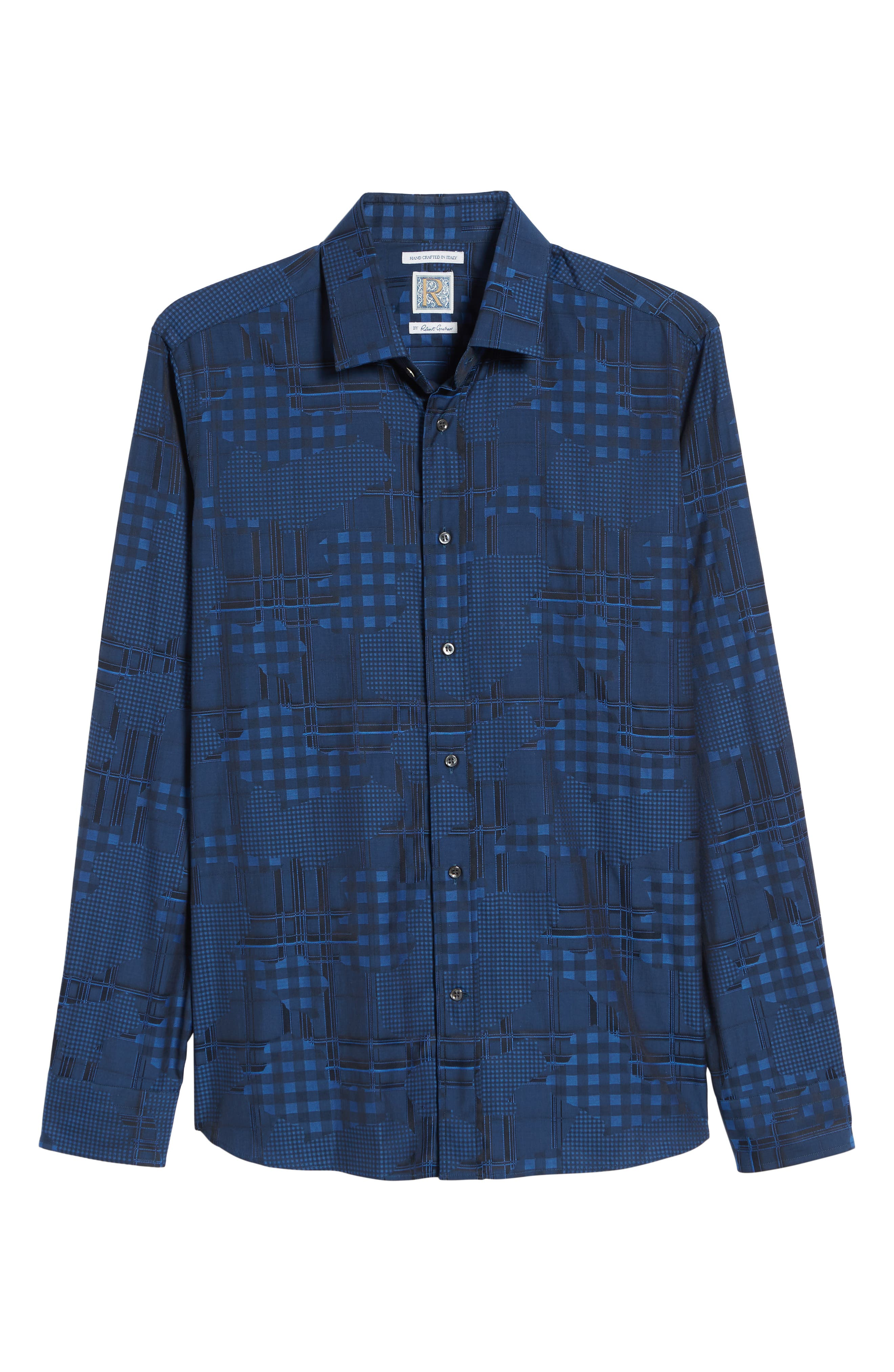 Luxor Tailored Fit Pattern Mix Sport Shirt,                             Alternate thumbnail 5, color,                             NAVY