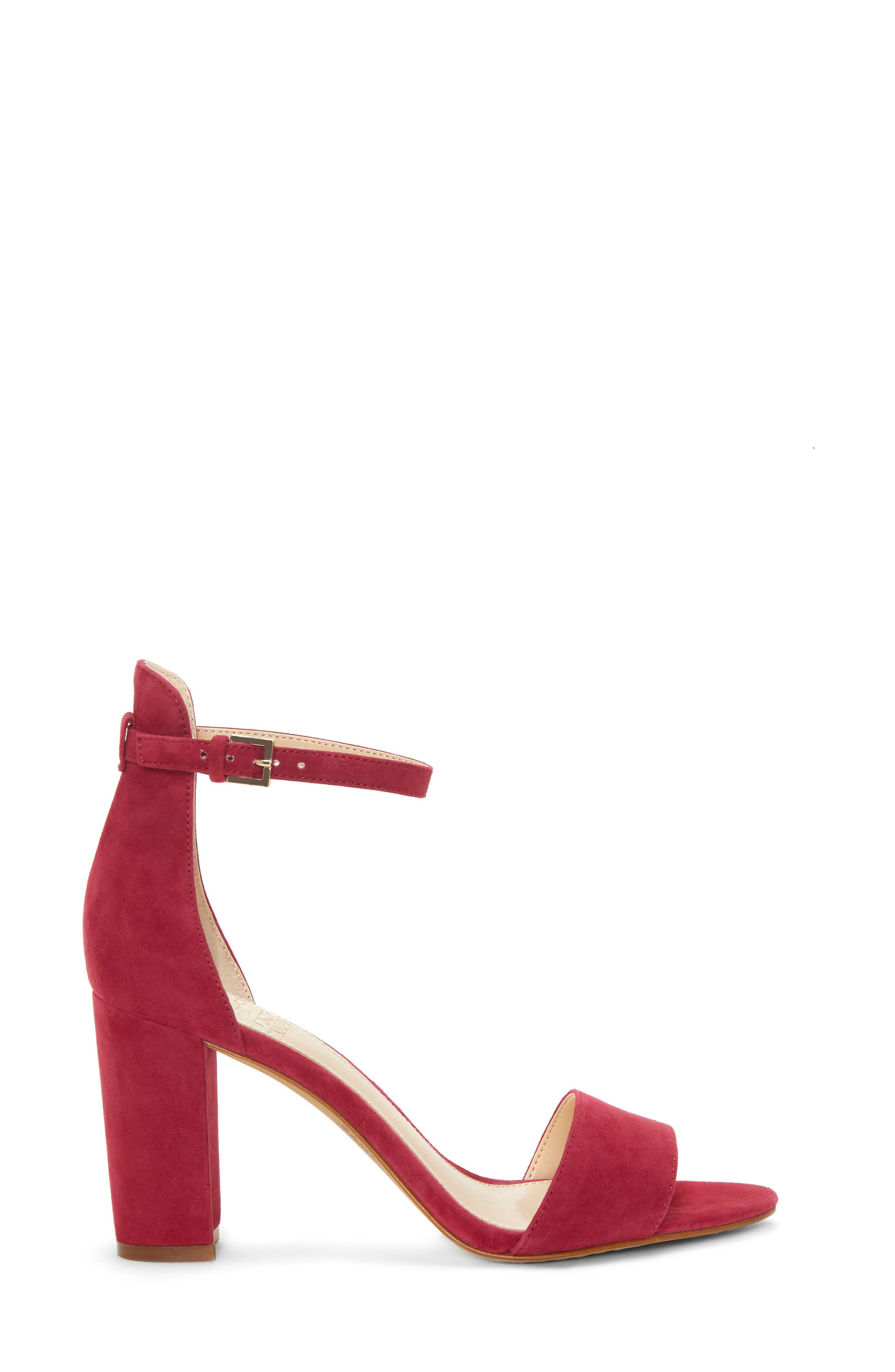 Corlina Ankle Strap Sandal,                             Alternate thumbnail 3, color,                             SWEET BERRY SUEDE