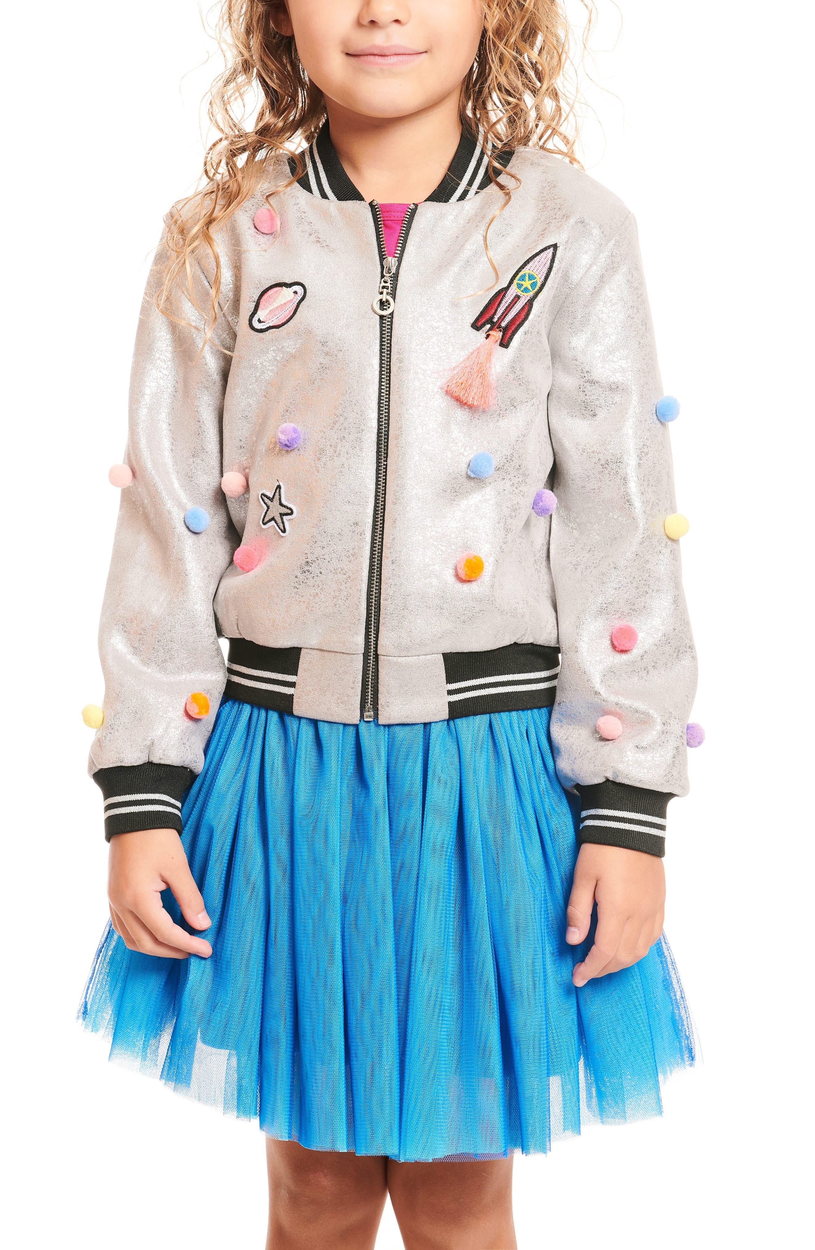 Embellished Metallic Bomber Jacket,                         Main,                         color, SILVER