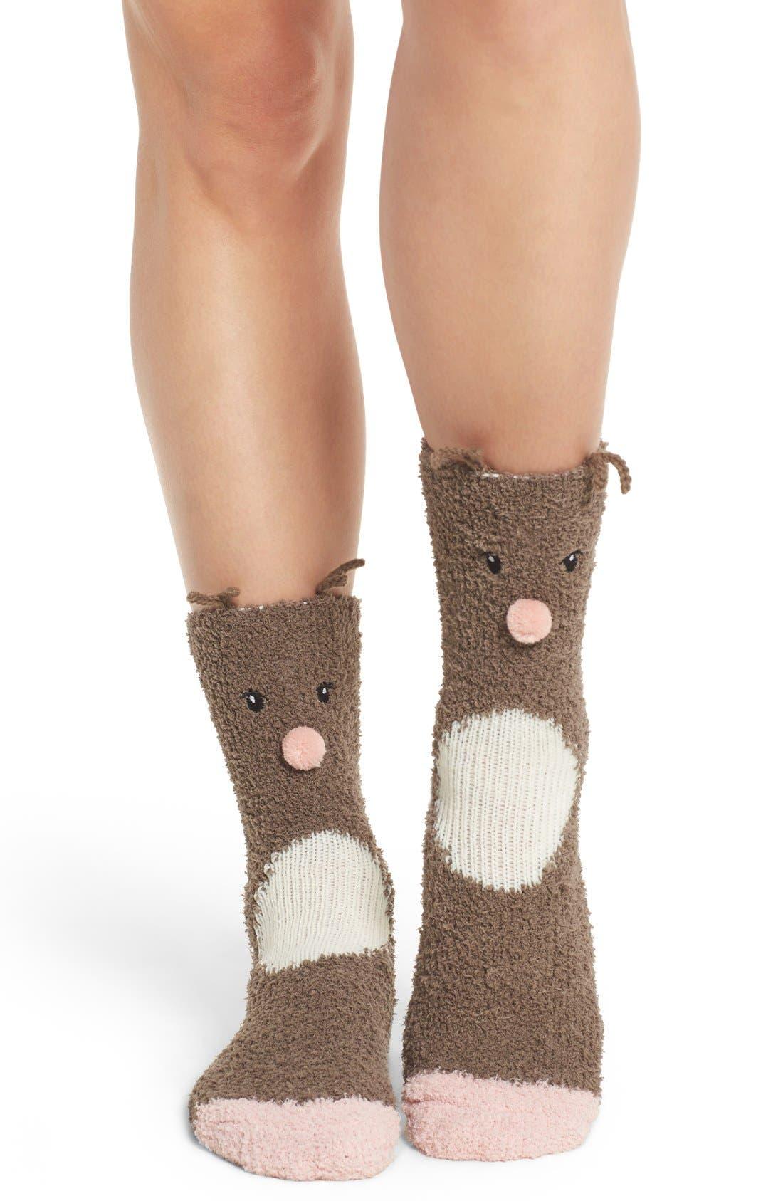 Deer Plush Socks,                         Main,                         color, 200