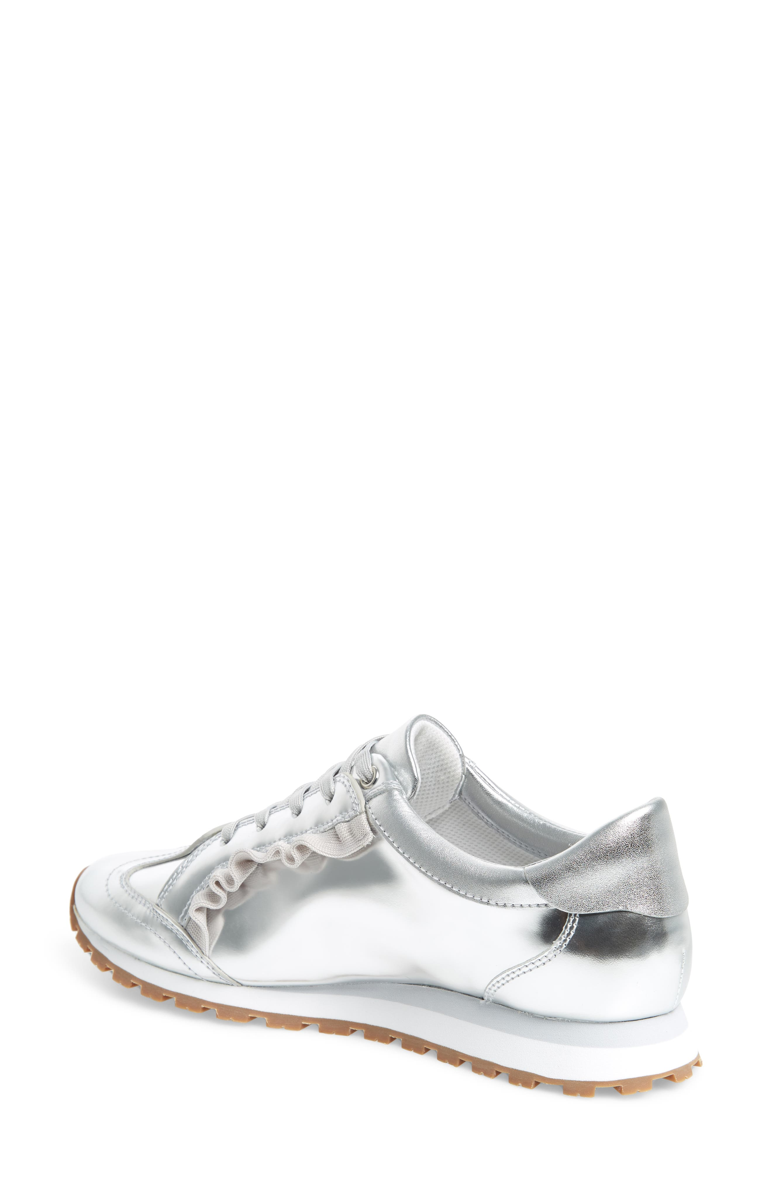 TORY SPORT,                             Ruffle Sneaker,                             Alternate thumbnail 2, color,                             SILVER/ GRAY