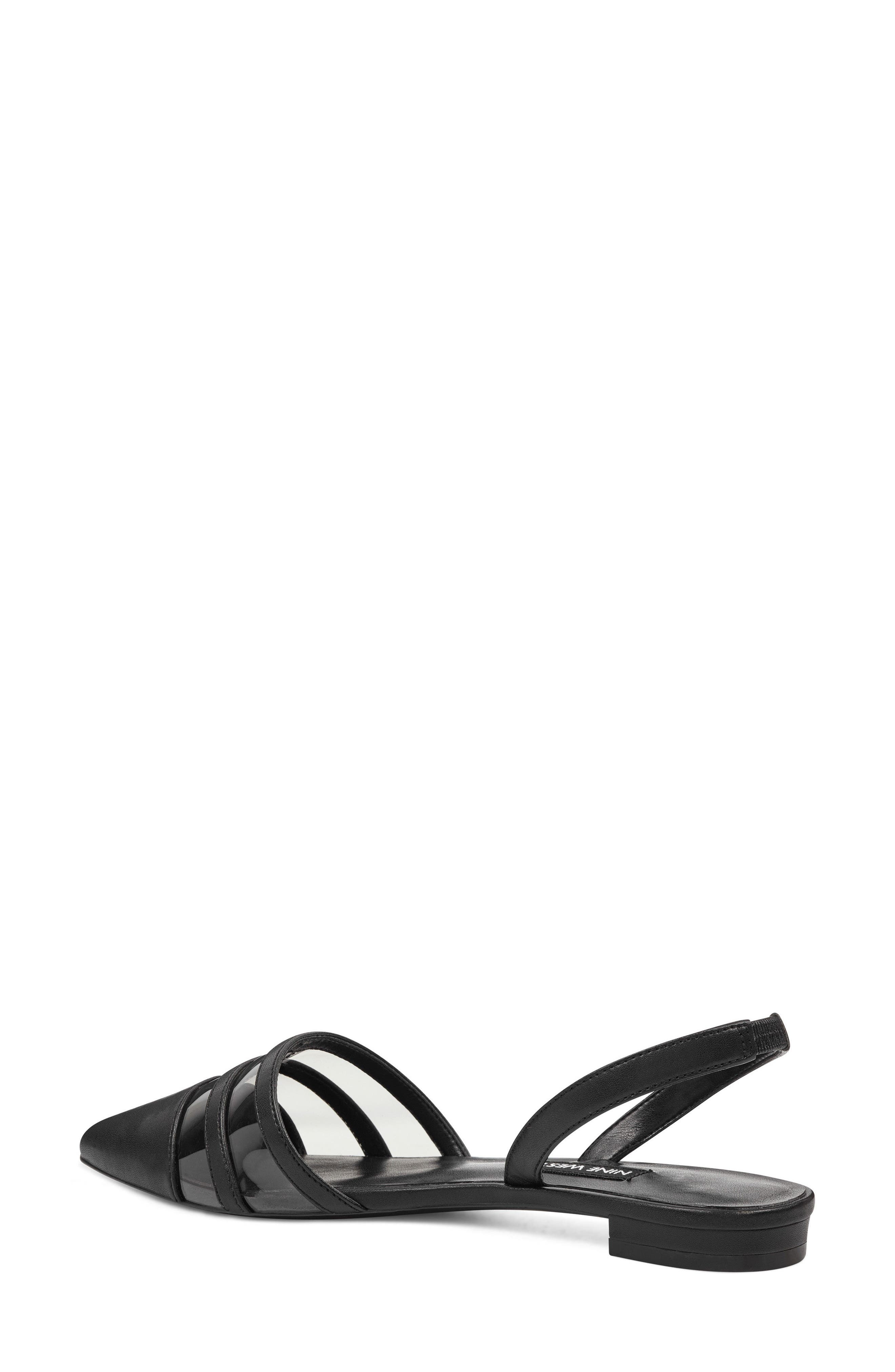 Pointy Toe Flat,                             Alternate thumbnail 2, color,                             GREY/ BLACK FAUX LEATHER
