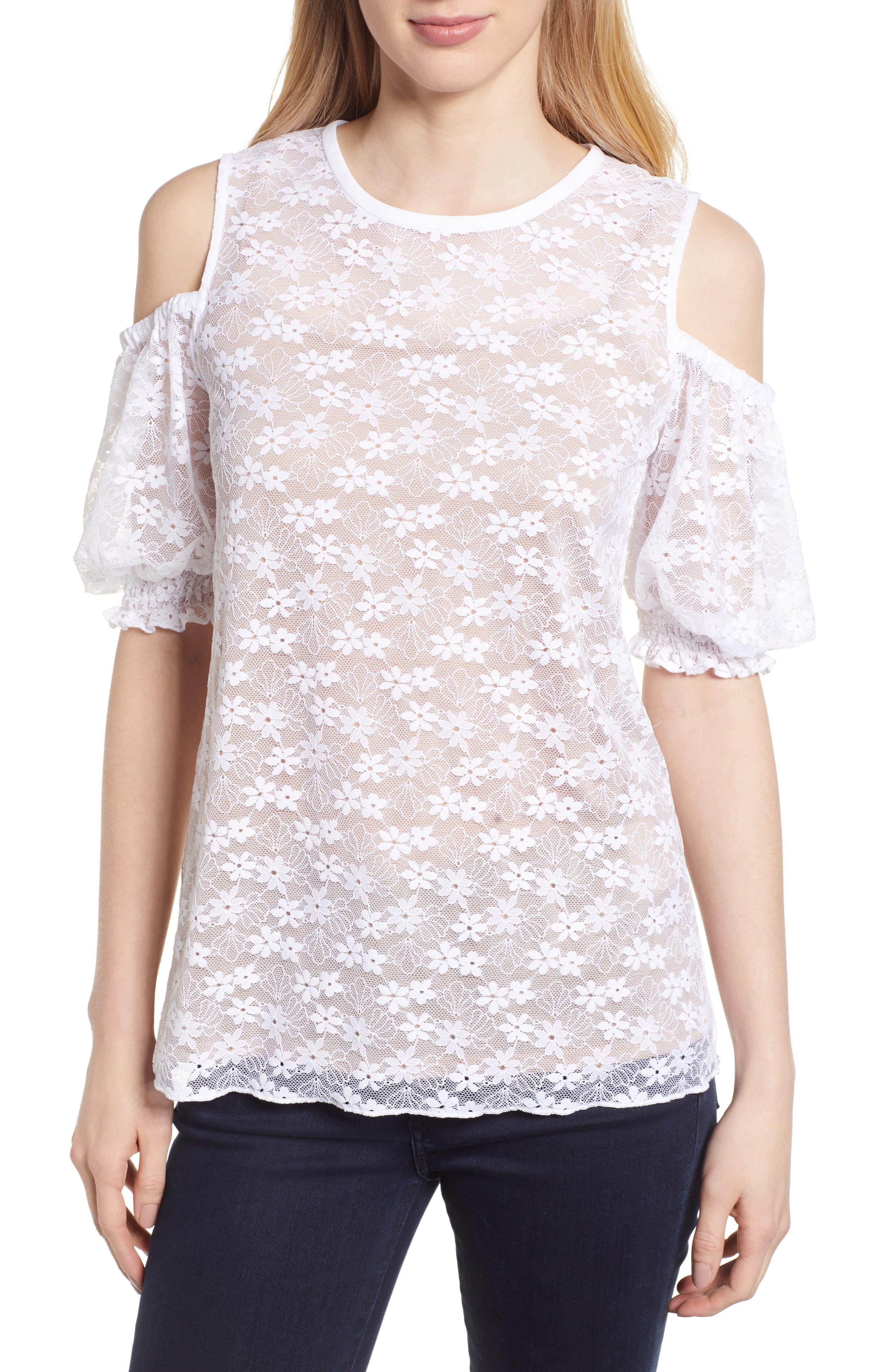 Cold Shoulder Lace Top,                             Main thumbnail 1, color,                             100