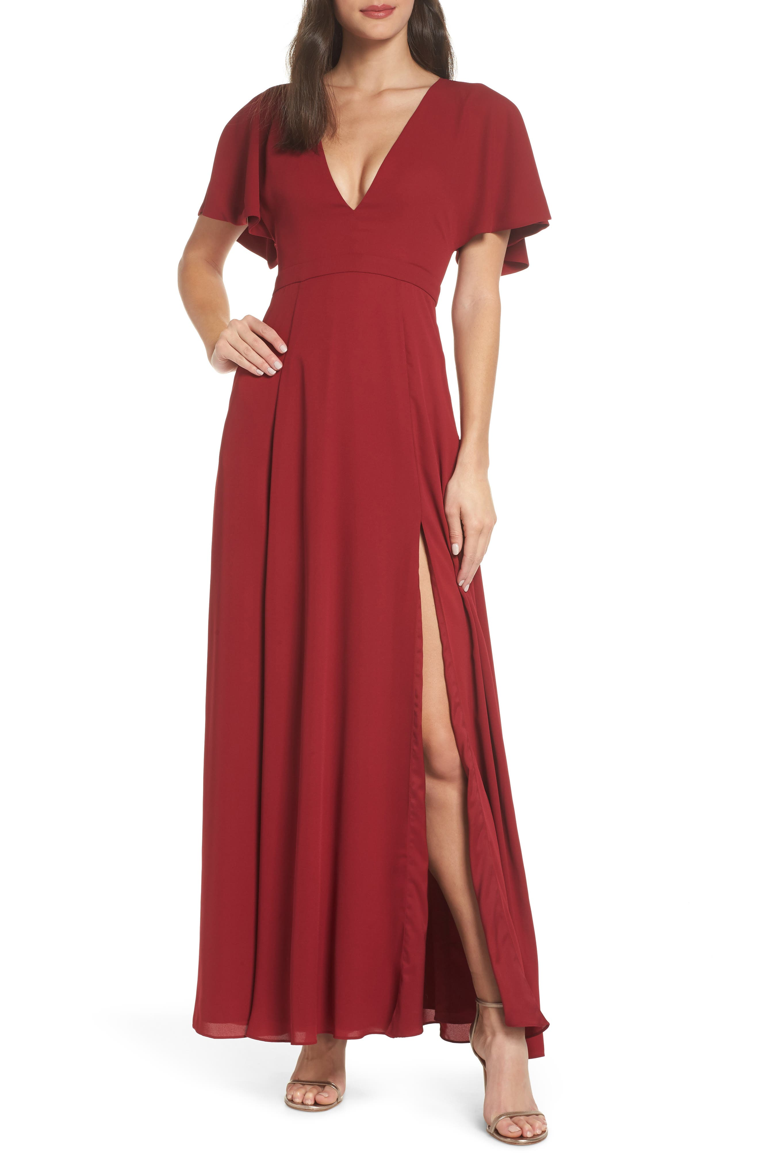 Fame And Partners A-Line Gown, Burgundy