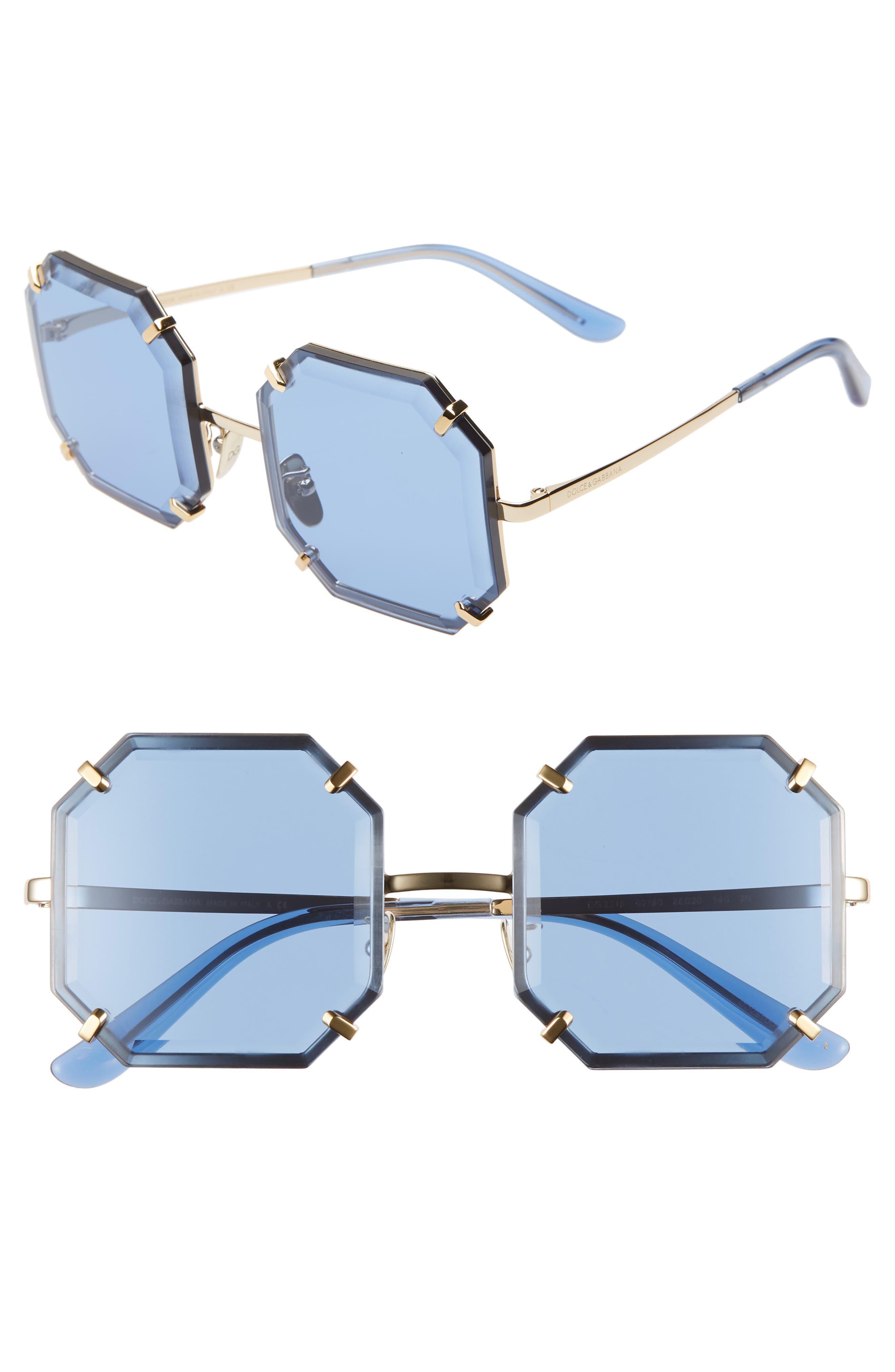 Jewel 55mm Octagonal Sunglasses,                             Main thumbnail 1, color,                             SILVER/ BLUE SOLID