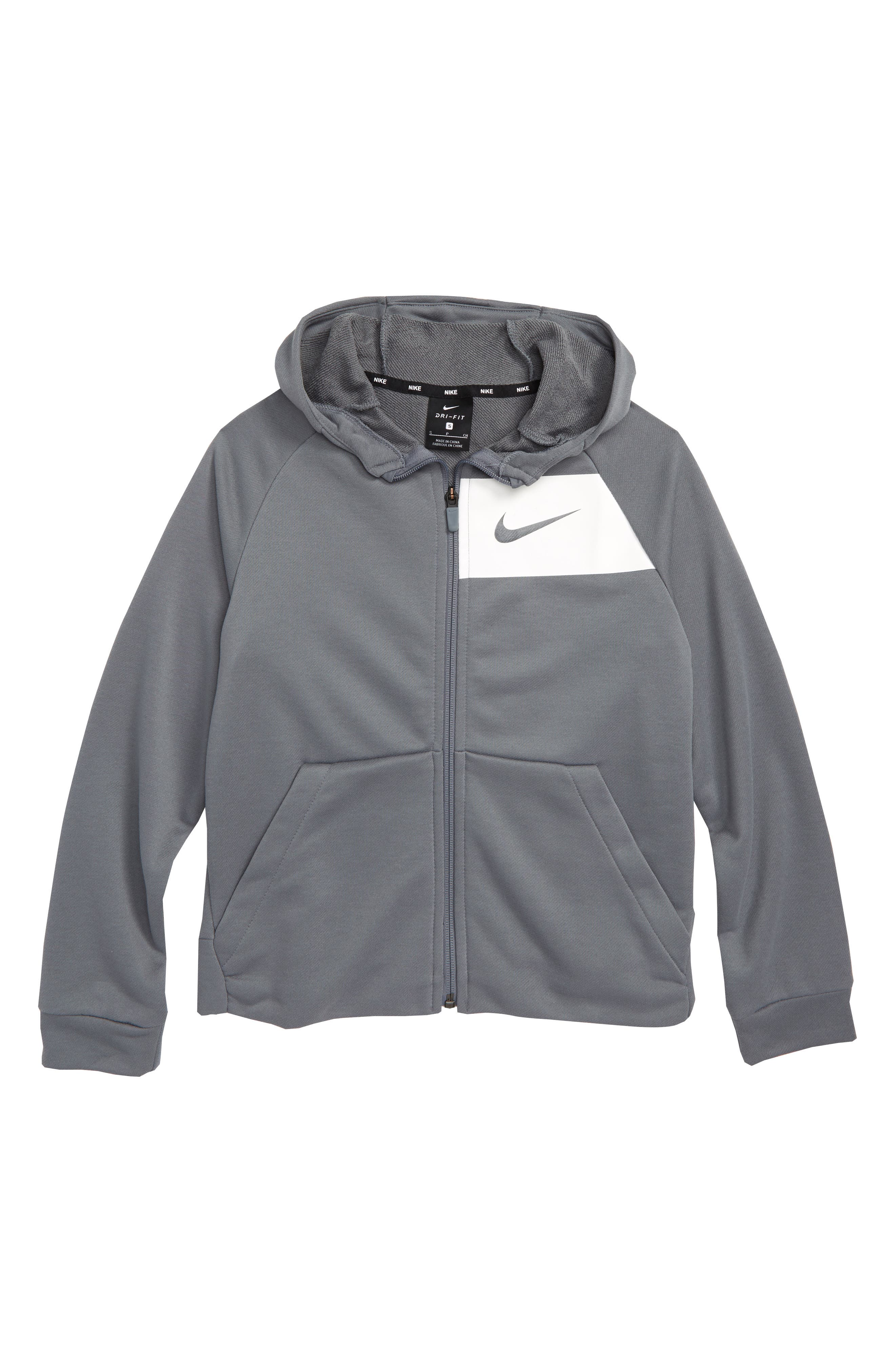 Dry Full Zip Hoodie,                             Main thumbnail 1, color,                             COOL GREY/ WHITE