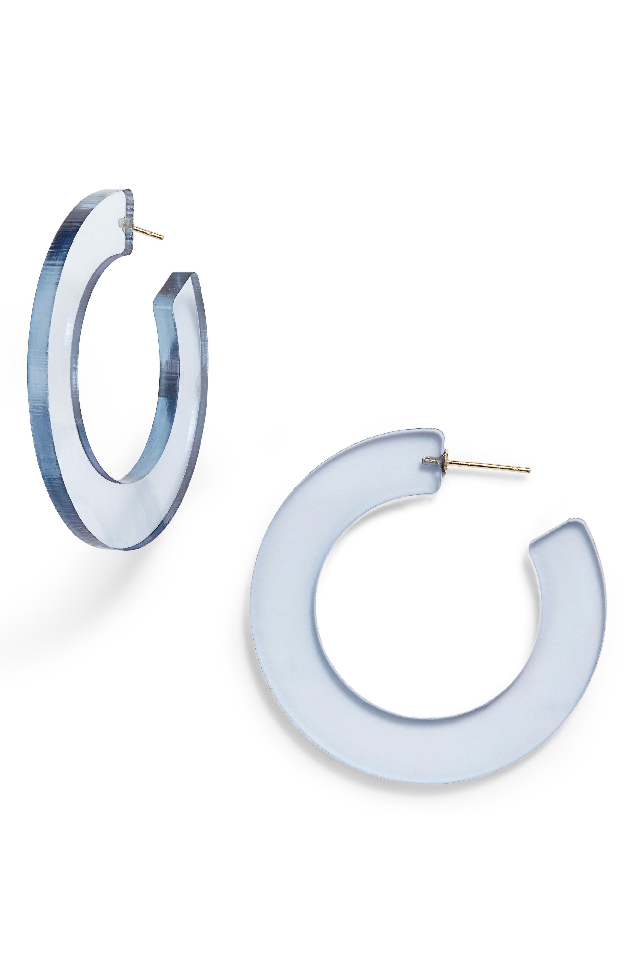 Acrylic Hoop Earrings,                             Main thumbnail 1, color,                             SMOKEY GREY