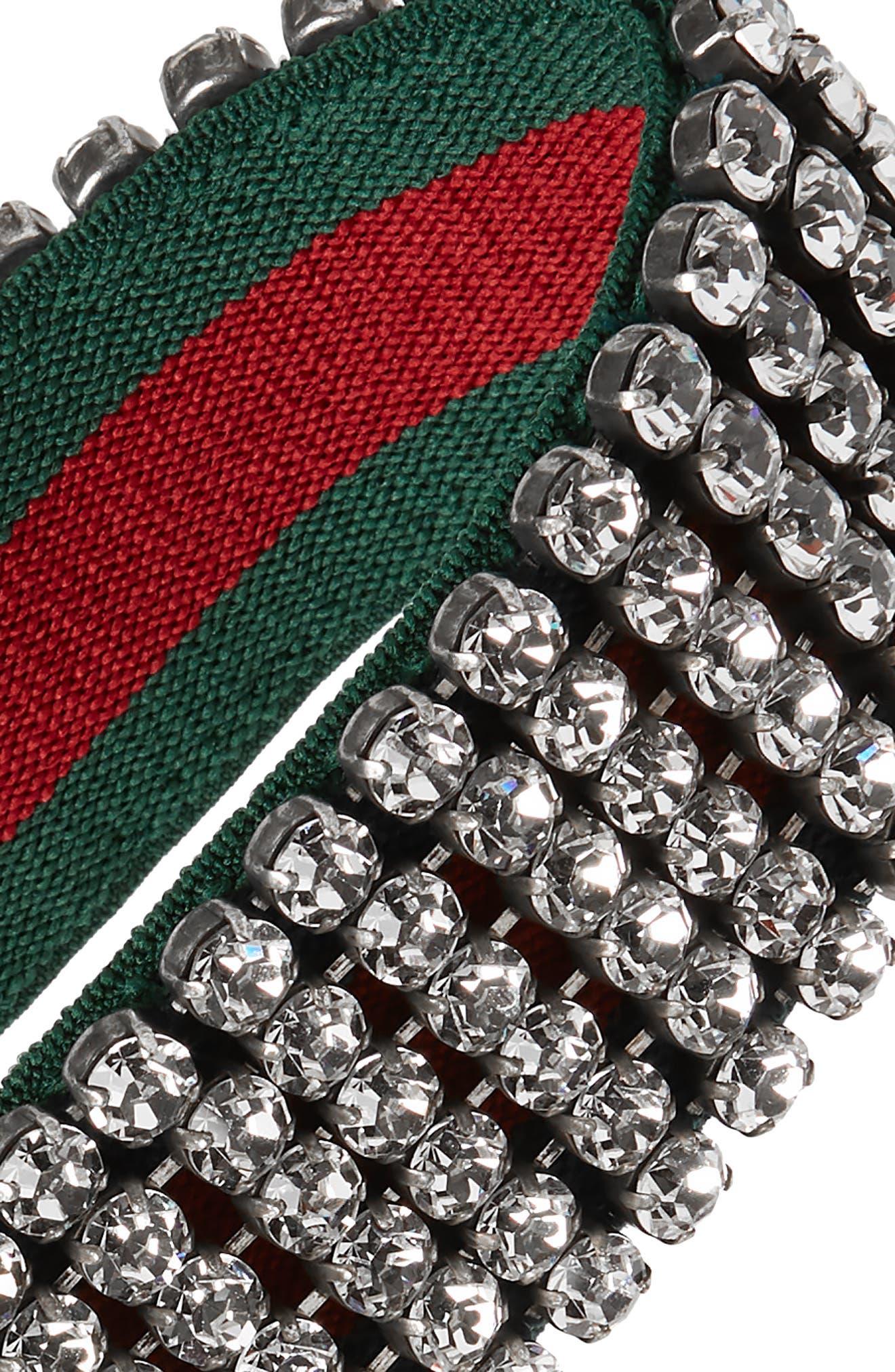 Webby Crystal Headband,                             Alternate thumbnail 2, color,                             DARK GREEN BOTTLE/ RED