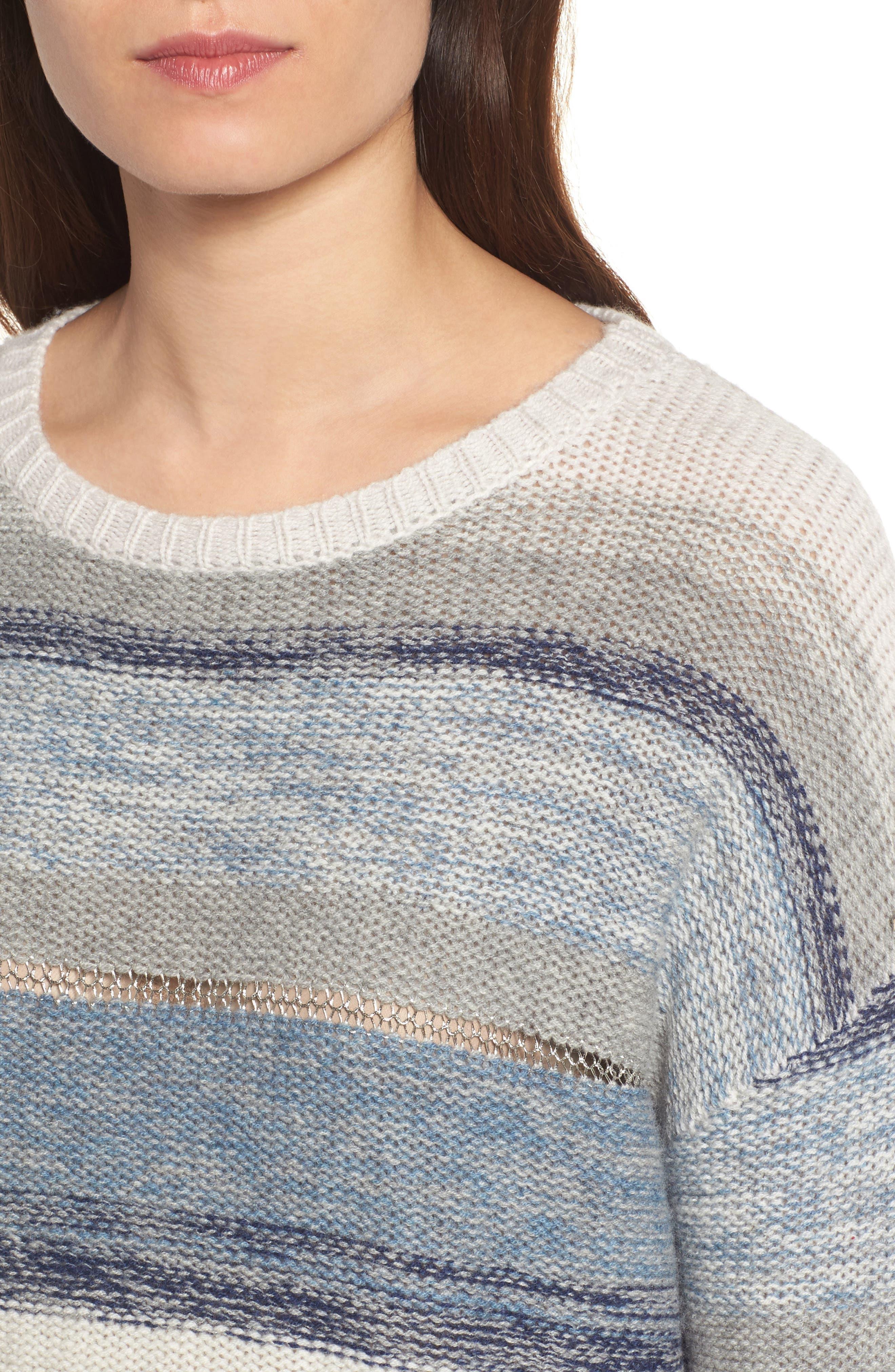 Daphne Stripe Wool & Cashmere Sweater,                             Alternate thumbnail 4, color,                             404