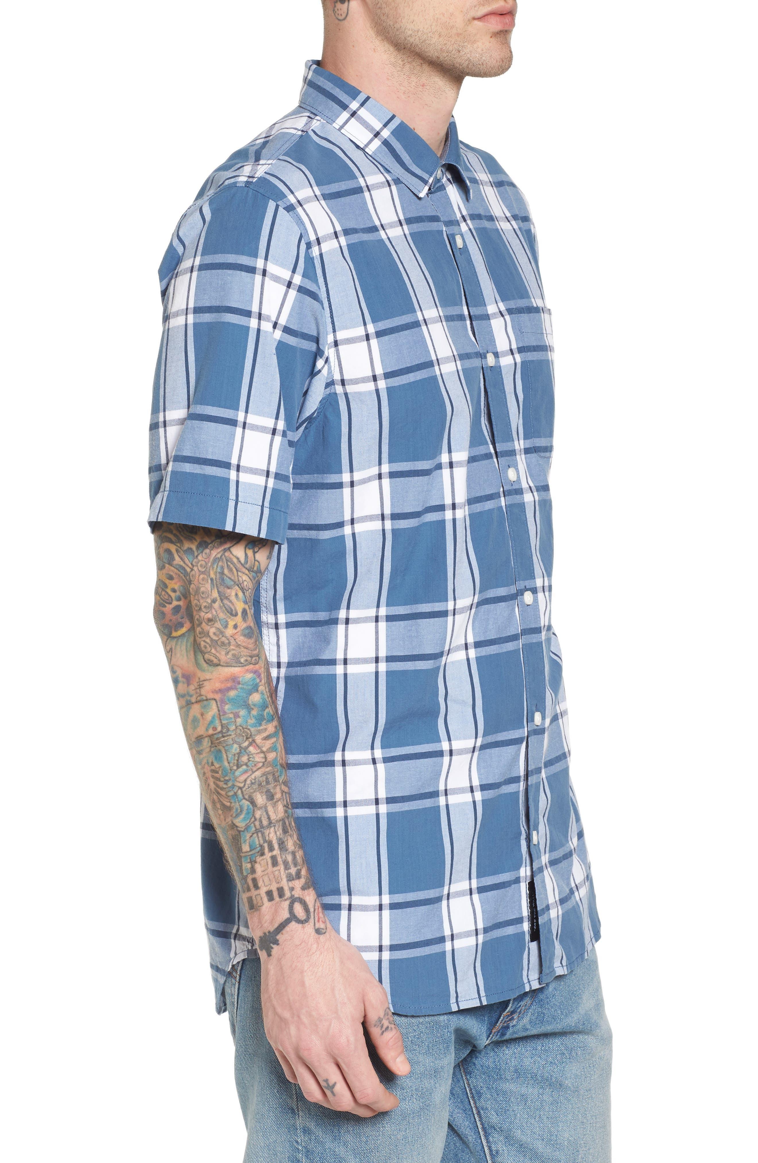 Mayfield Short Sleeve Plaid Shirt,                             Alternate thumbnail 3, color,                             420