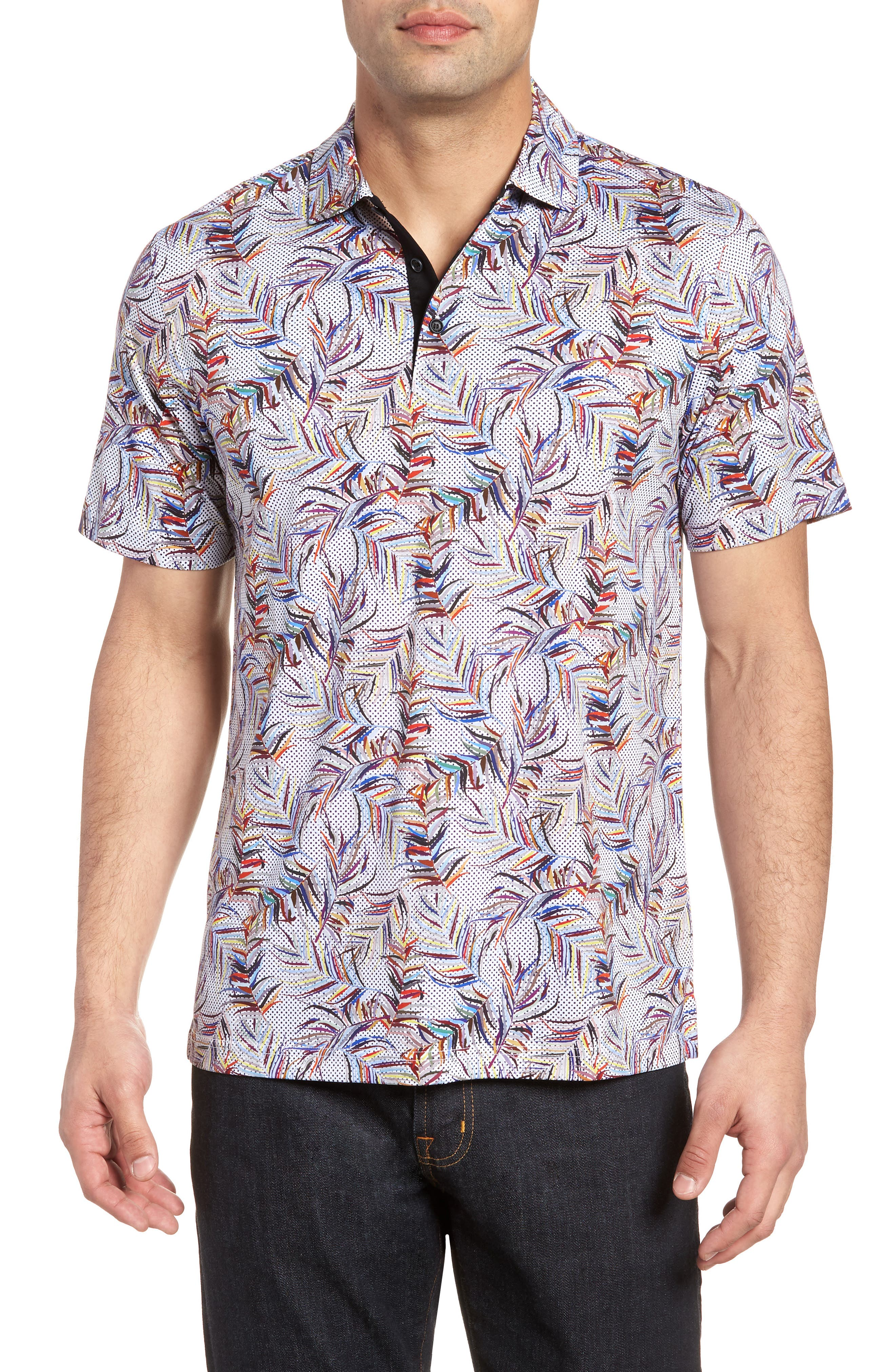 BUGATCHI Multicolor Frond Print Polo, Main, color, CANDY
