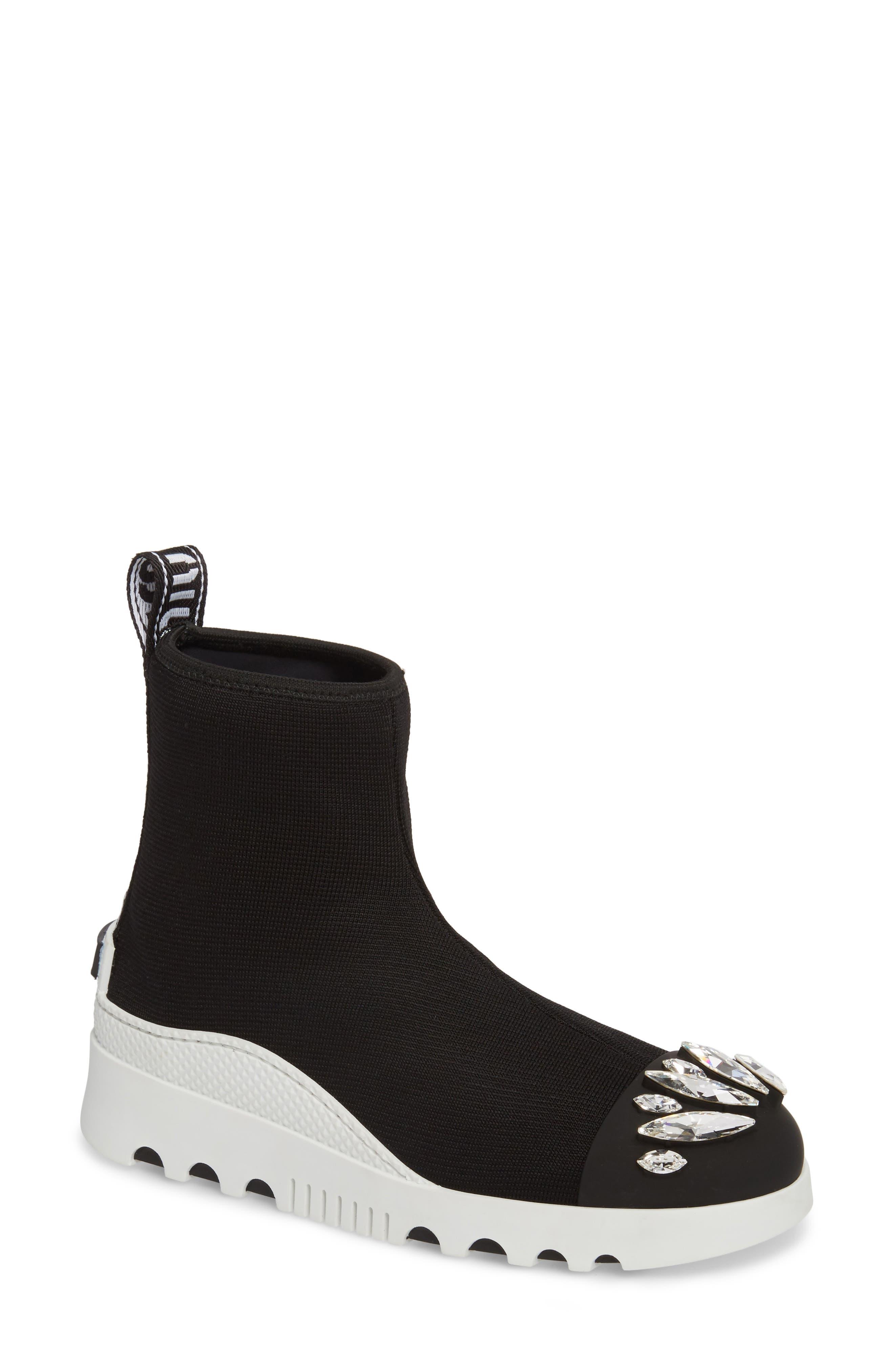 Embellished Sock Boot,                             Main thumbnail 1, color,                             BLACK