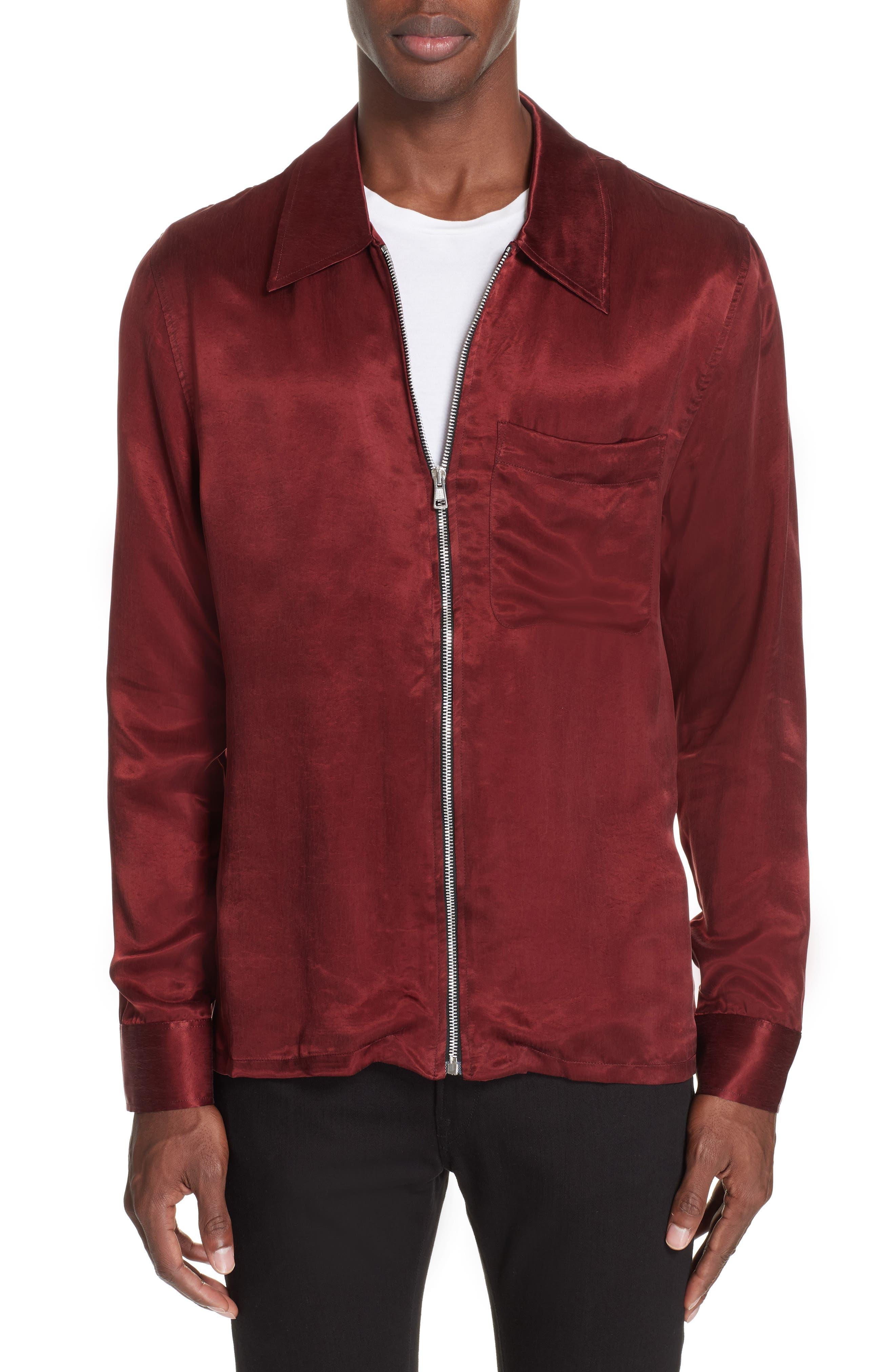 Long Sleeve Zip Shirt,                             Main thumbnail 1, color,                             RED