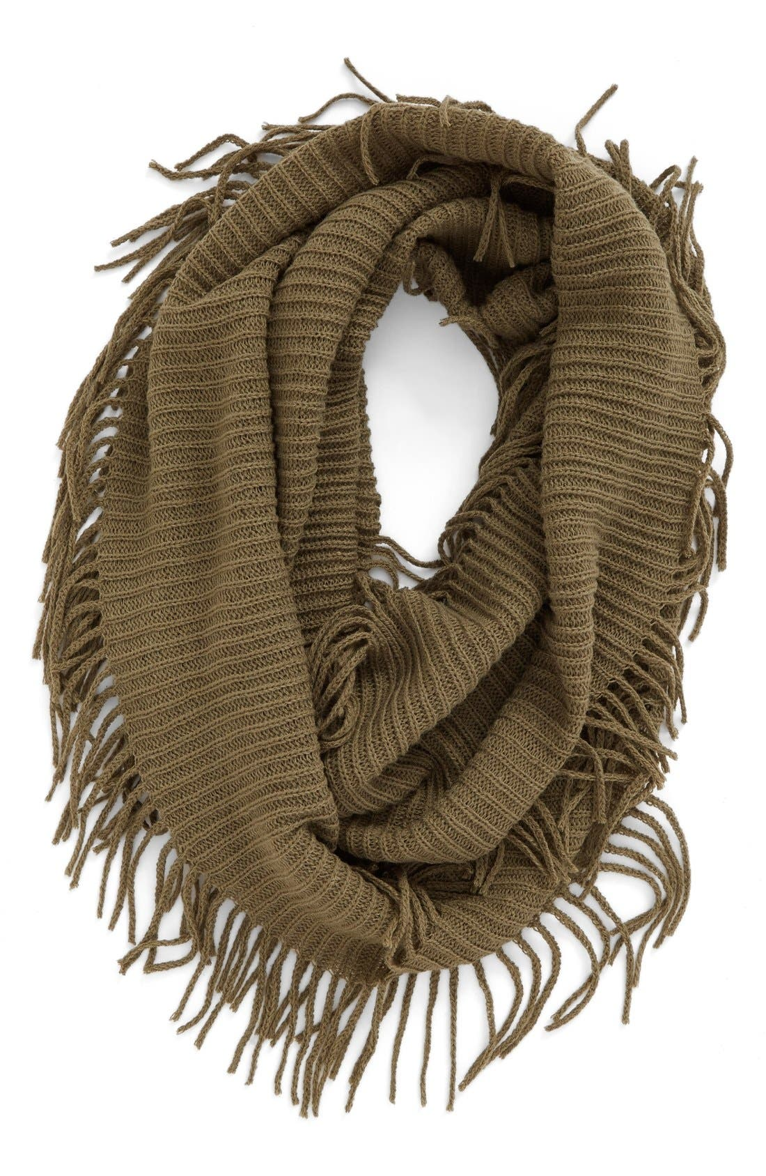 Rib Knit Fringe Infinity Scarf,                             Main thumbnail 3, color,