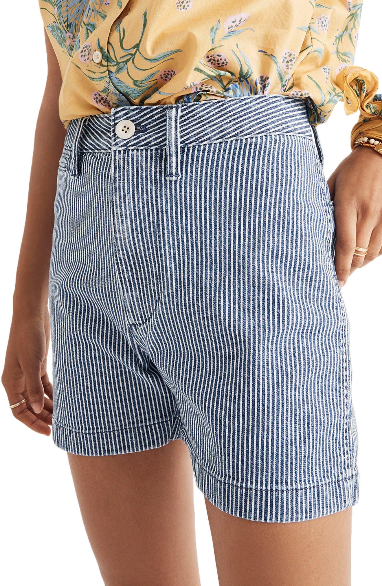 Emmett Stripe Denim Shorts,                             Alternate thumbnail 3, color,                             400
