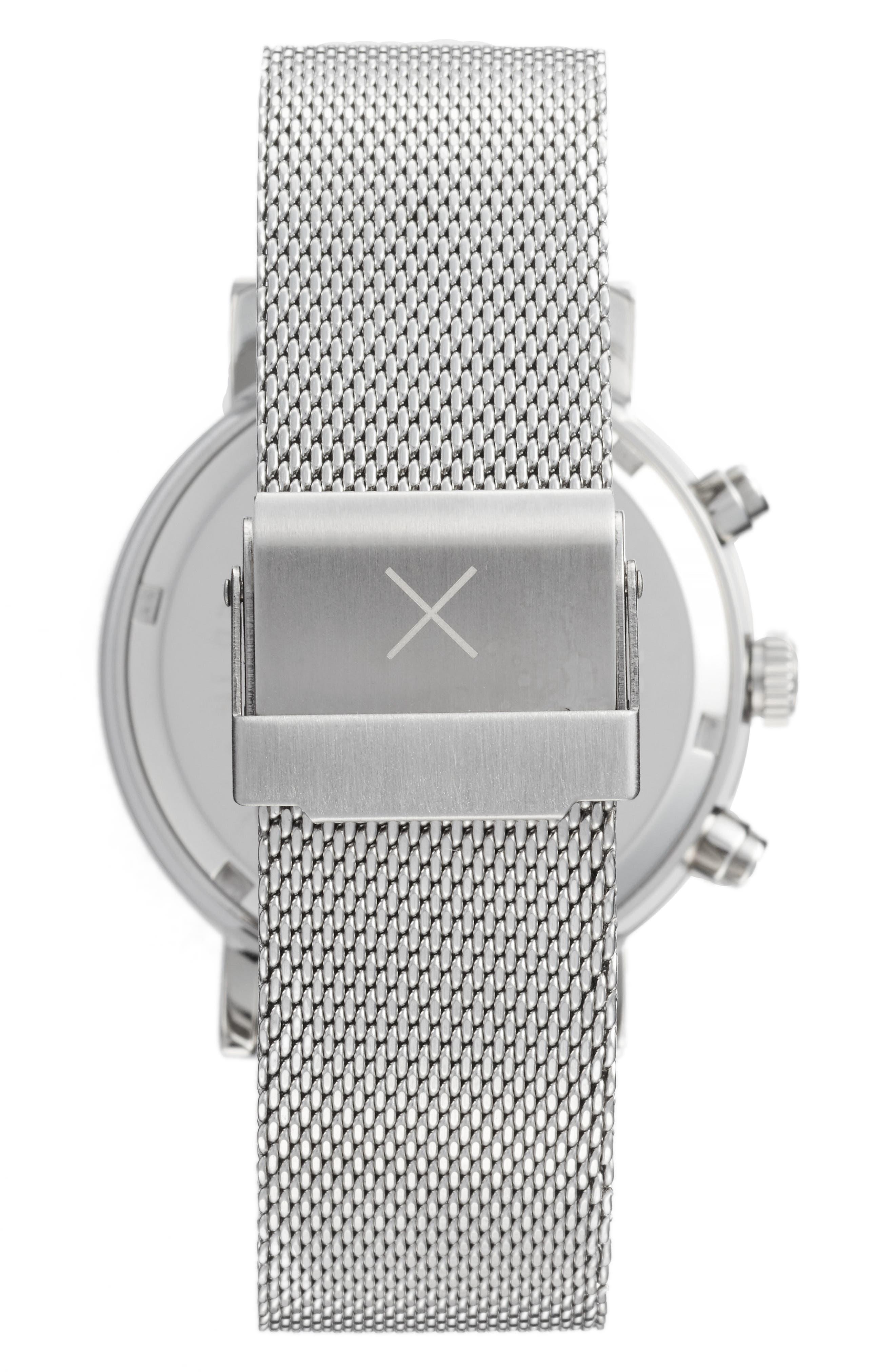 2.0 Chronograph Mesh Strap Watch, 40mm,                             Alternate thumbnail 2, color,                             SILVER/ WHITE