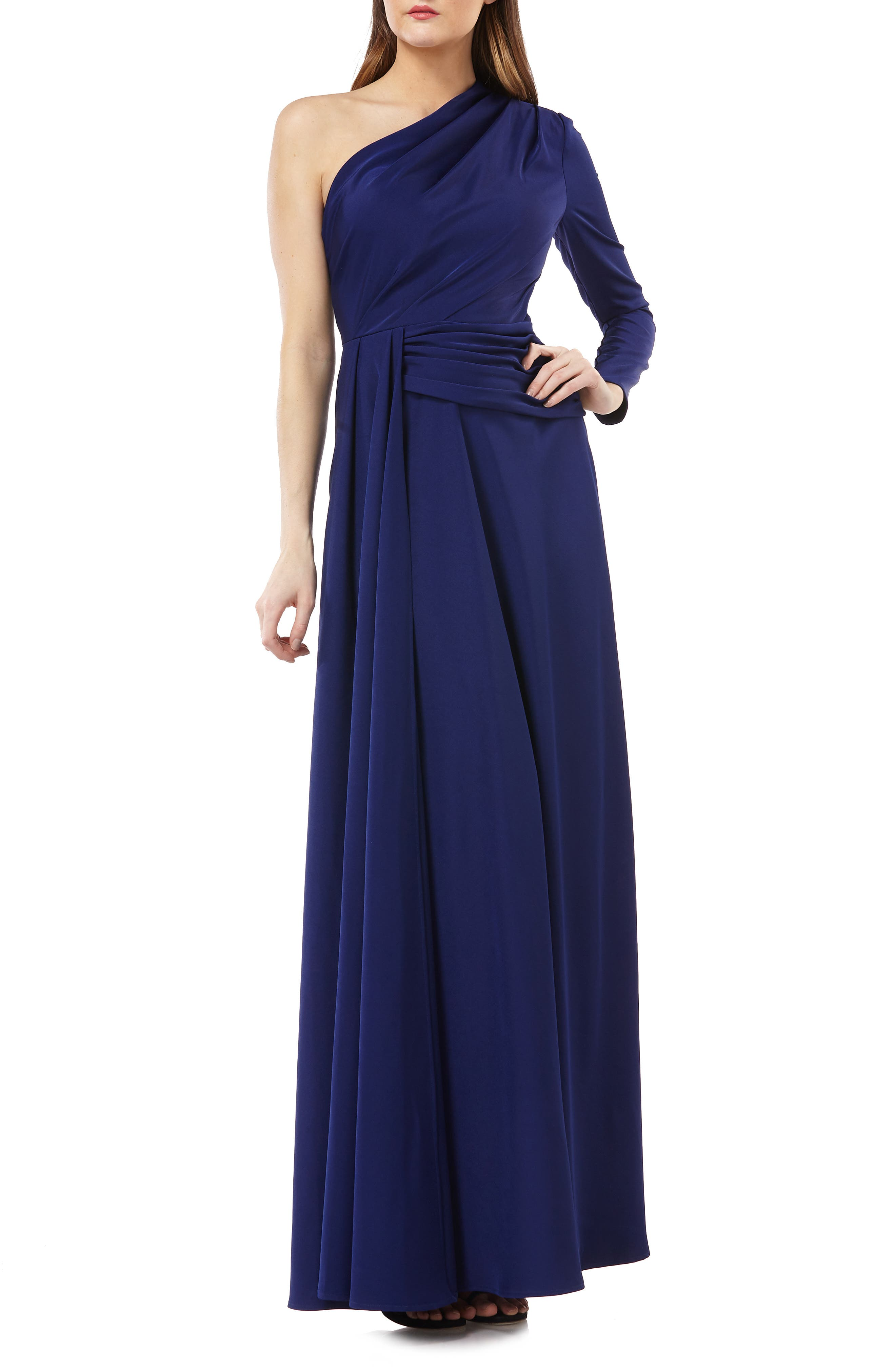 KAY UNGER One-Shoulder Gown W/ Draped Sash in Navy