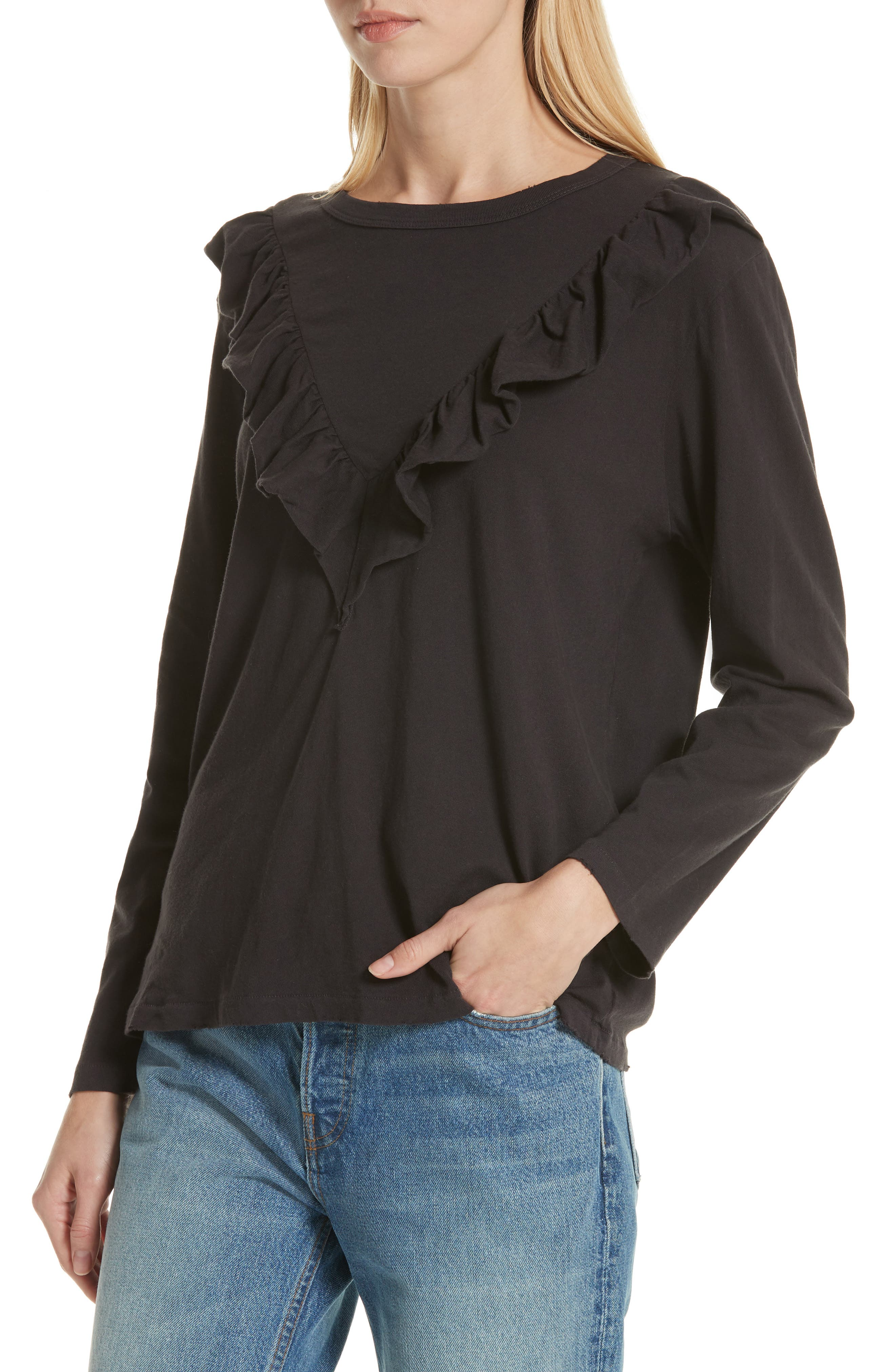 The Tuxedo Ruffle Tee,                             Alternate thumbnail 4, color,                             ALMOST BLACK