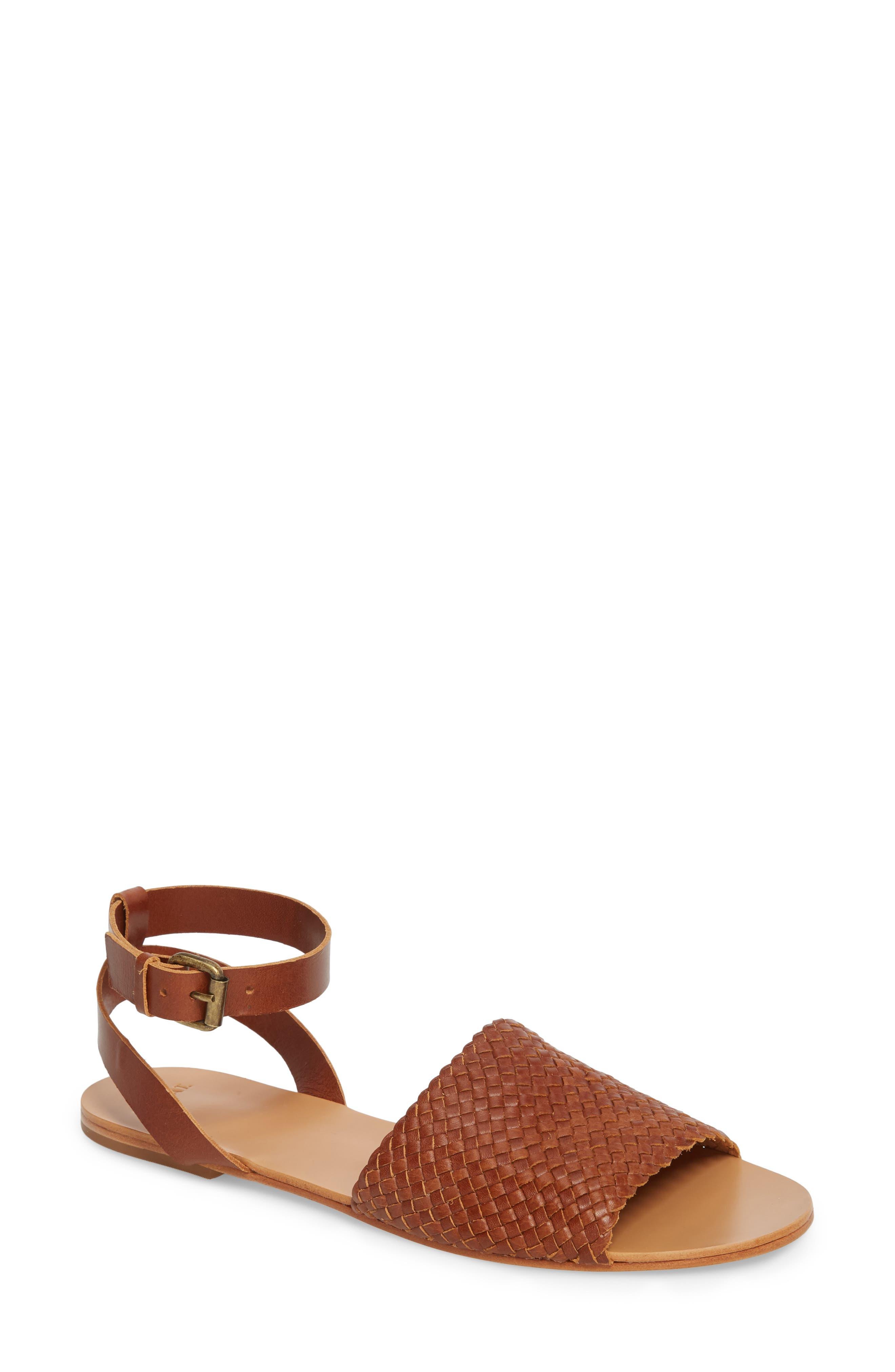 Caravan Ankle Strap Sandal,                         Main,                         color, COGNAC