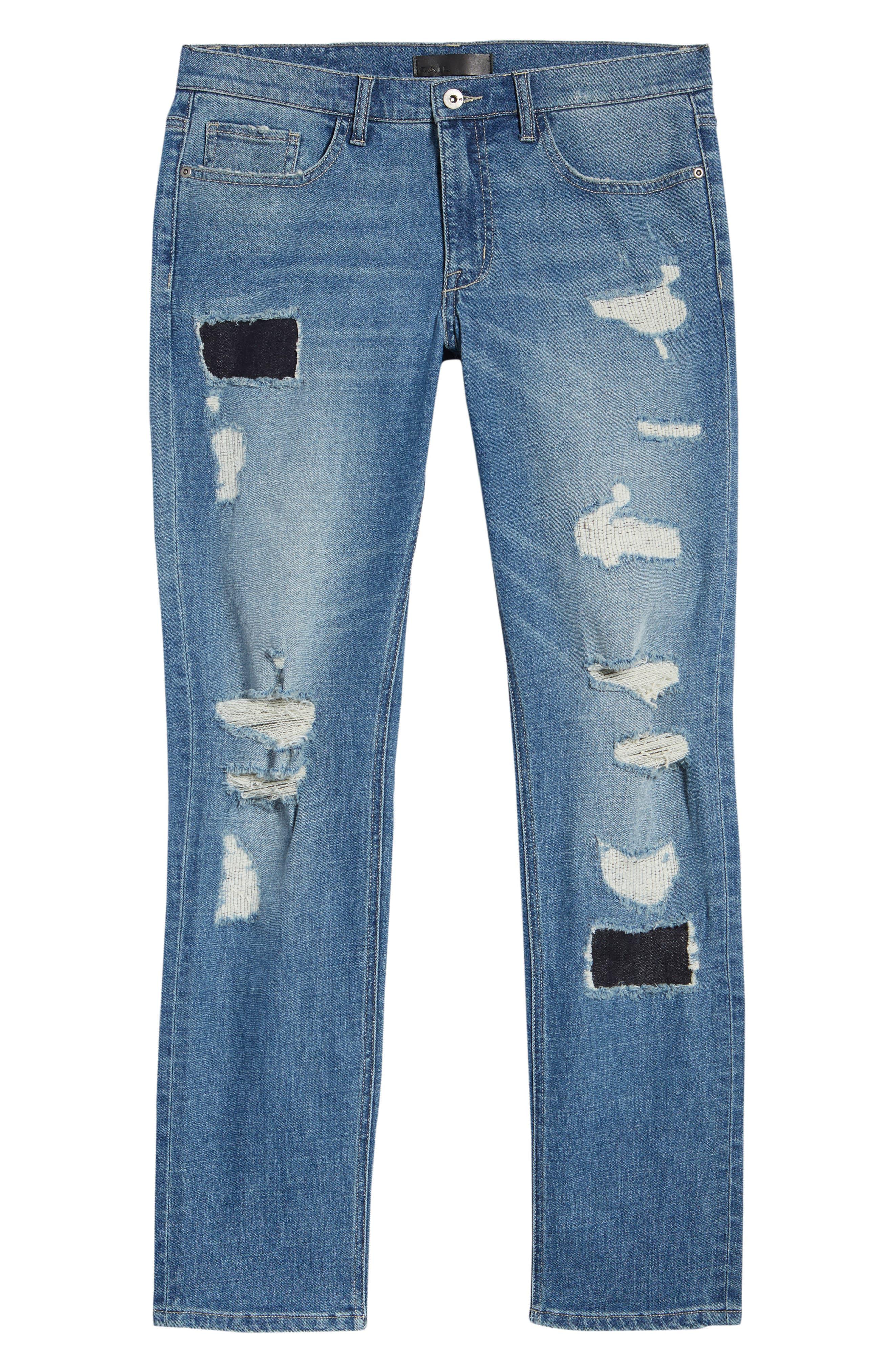 Rip & Repair Stretch Slim Jeans,                             Alternate thumbnail 6, color,                             BLUE HETFIELD WASH