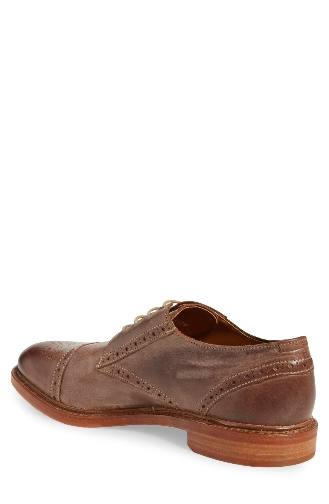 'Bainbridge' Cap Toe Derby,                             Alternate thumbnail 2, color,                             BROWN LEATHER