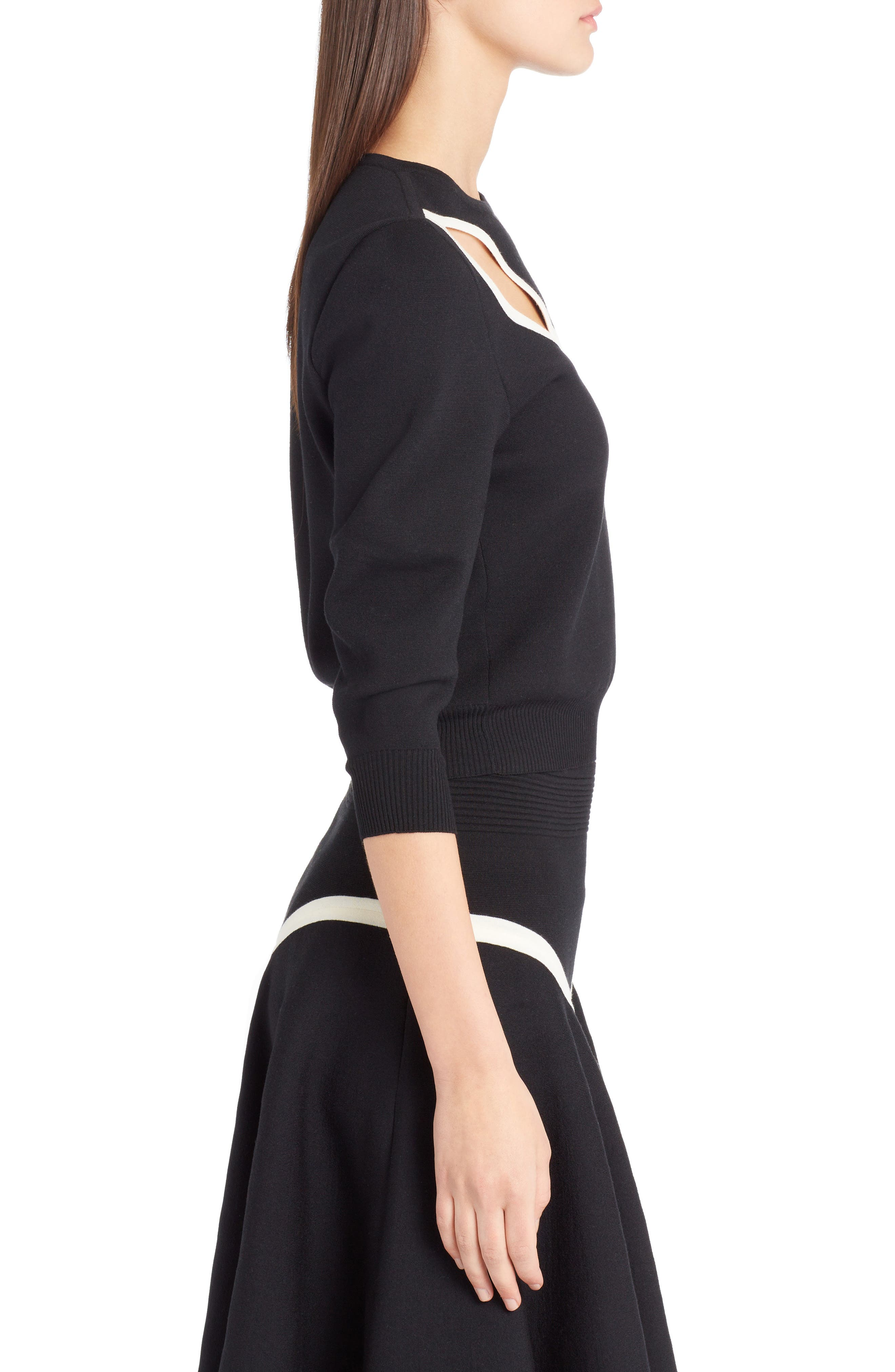 Graphic Cutout Sweater,                             Alternate thumbnail 3, color,                             BLACK/ IVORY