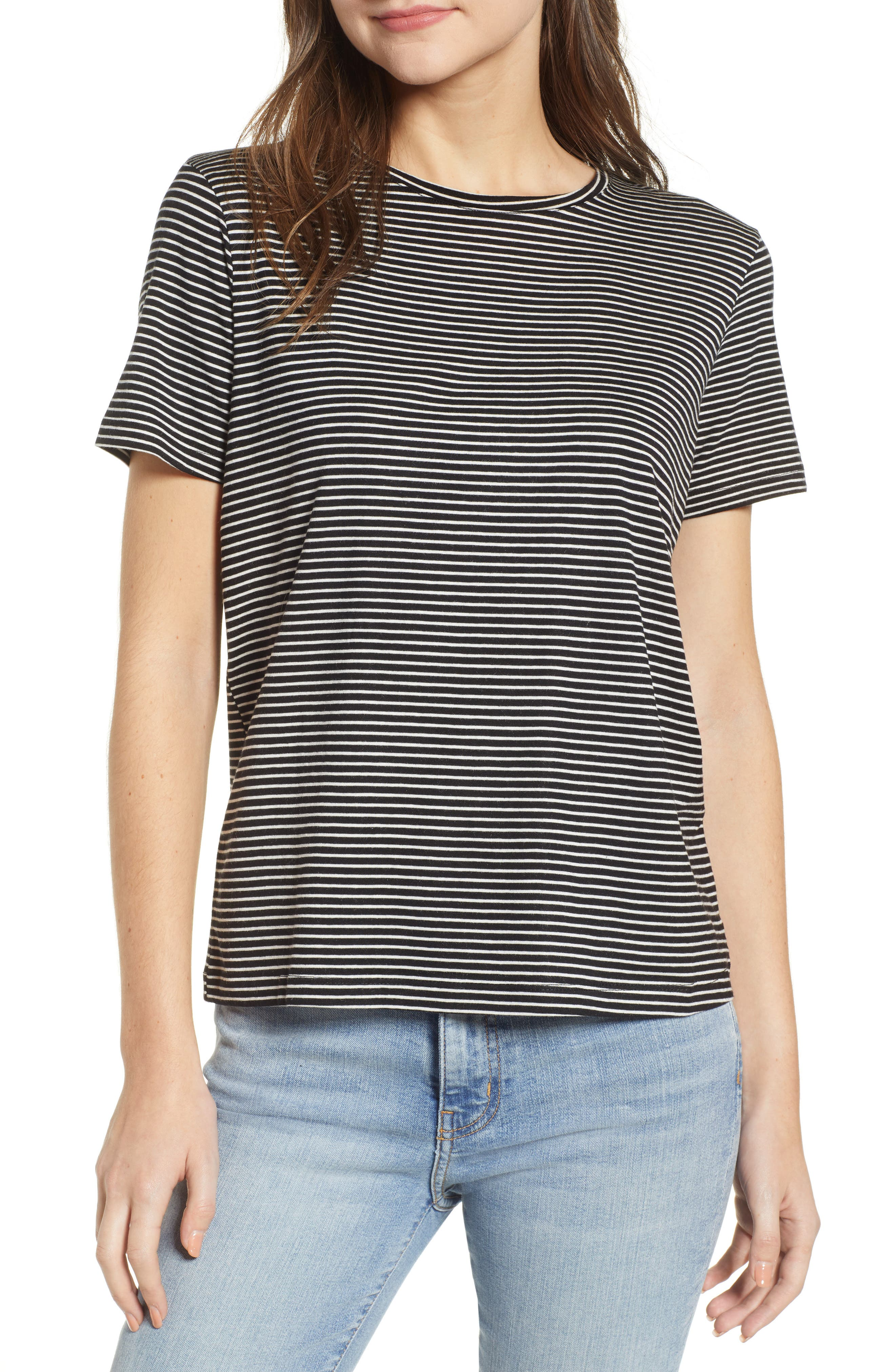Ava Stripe Tee, Main, color, BLACK STRIPE