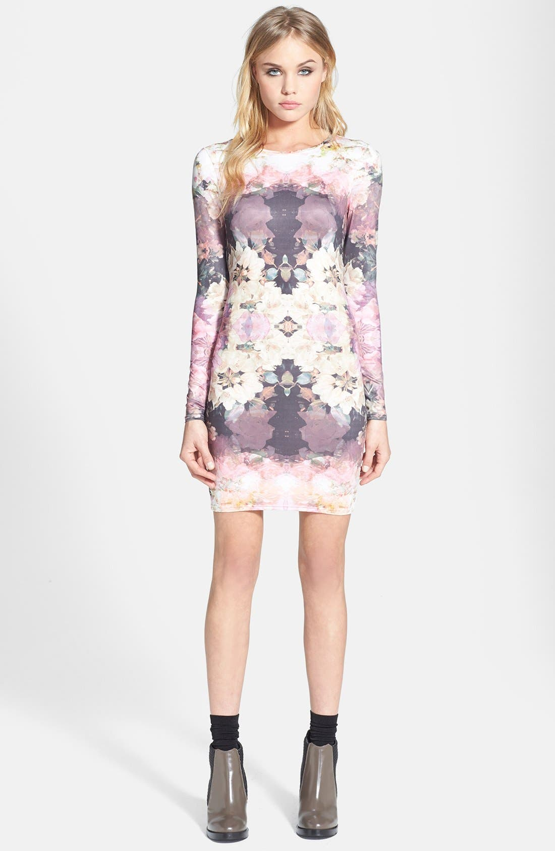 'Mirror Bloom' Jersey Body-Con Dress, Main, color, 500
