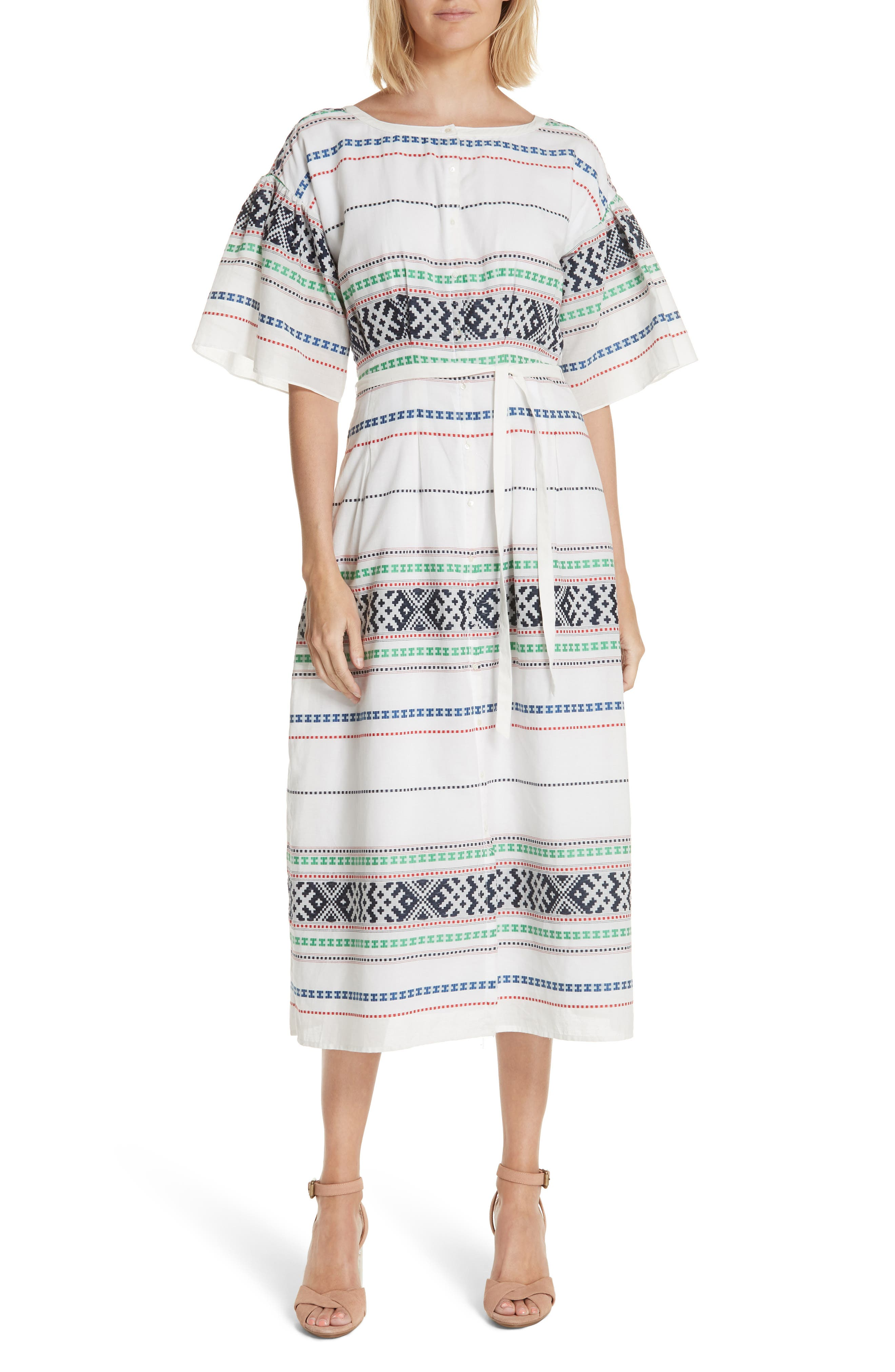 Lilianaly Embroidered Midi Dress,                             Main thumbnail 1, color,                             PORCELAIN