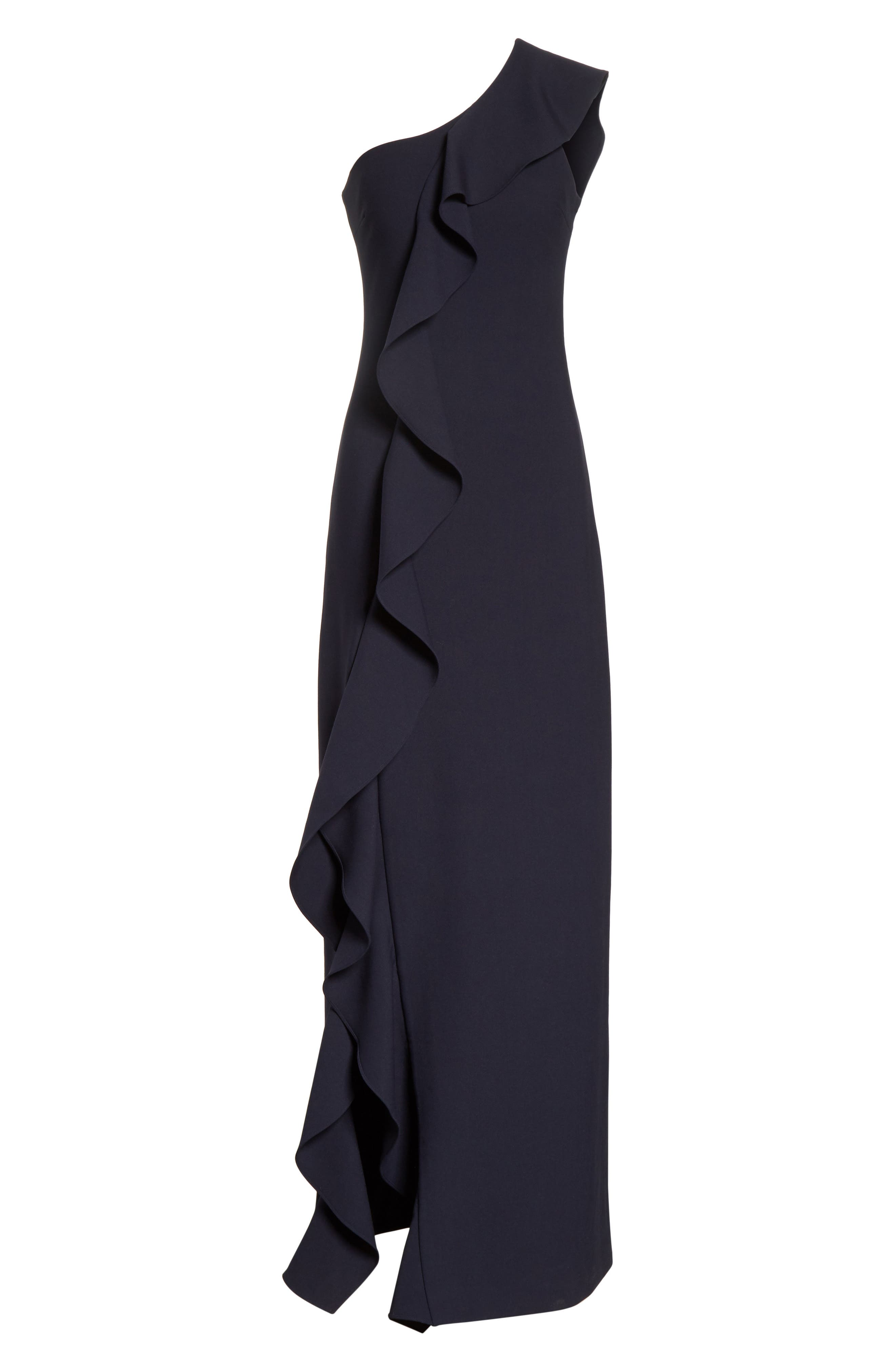 Remy One Shoulder Ruffle Gown,                             Alternate thumbnail 6, color,                             410