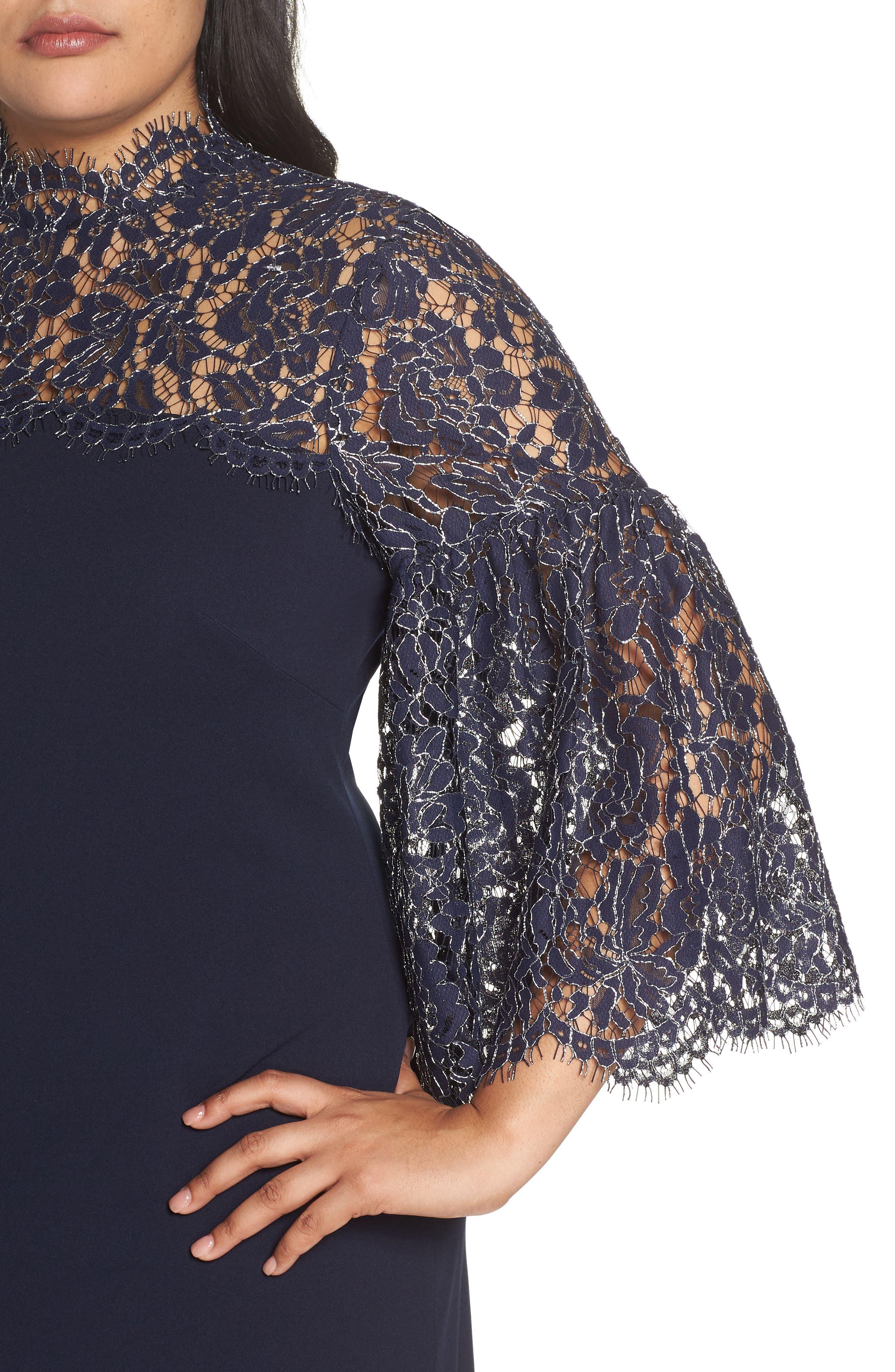 Lace Yoke Scuba Crepe Dress,                             Alternate thumbnail 4, color,                             NAVY