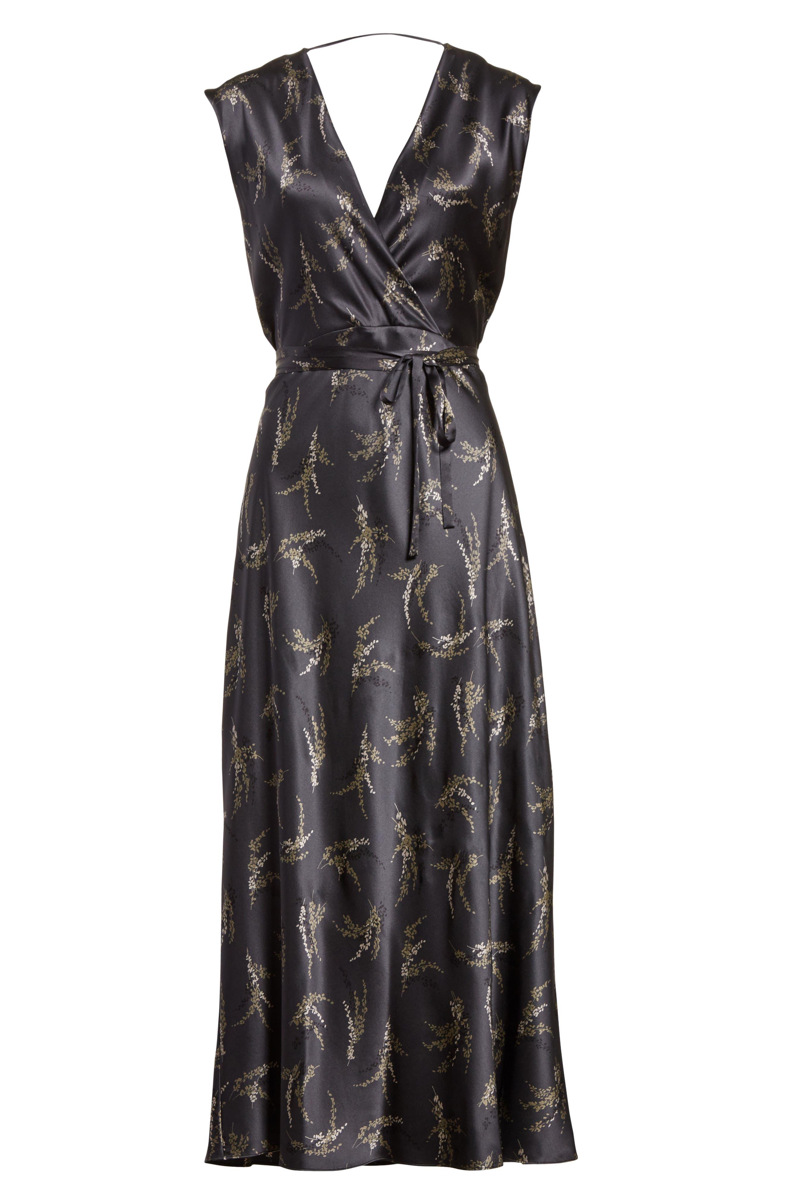 Spring Floral Faux Wrap Silk Dress,                             Alternate thumbnail 6, color,                             021