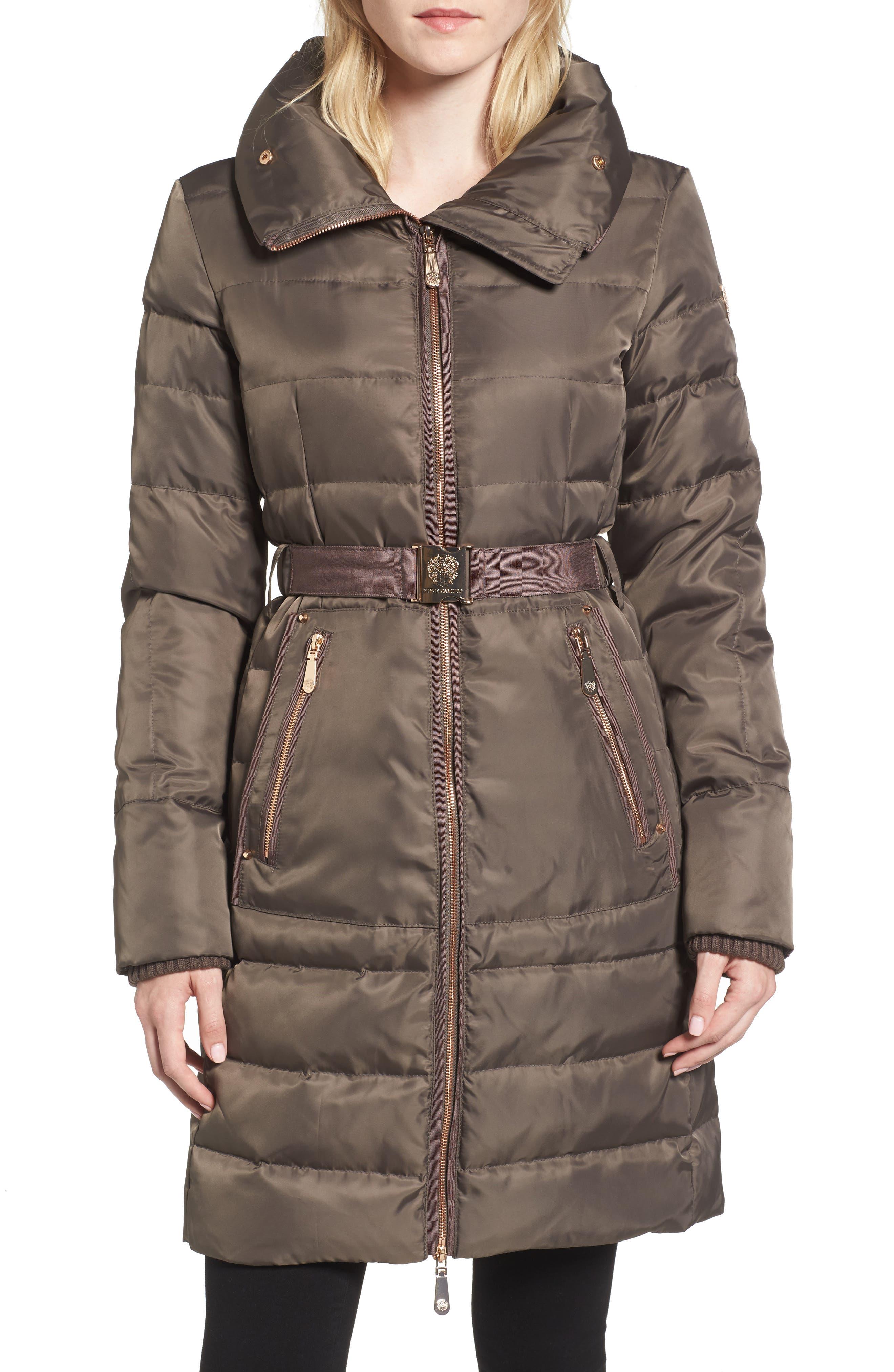 Belted Coat with Detachable Faux Fur,                             Alternate thumbnail 8, color,