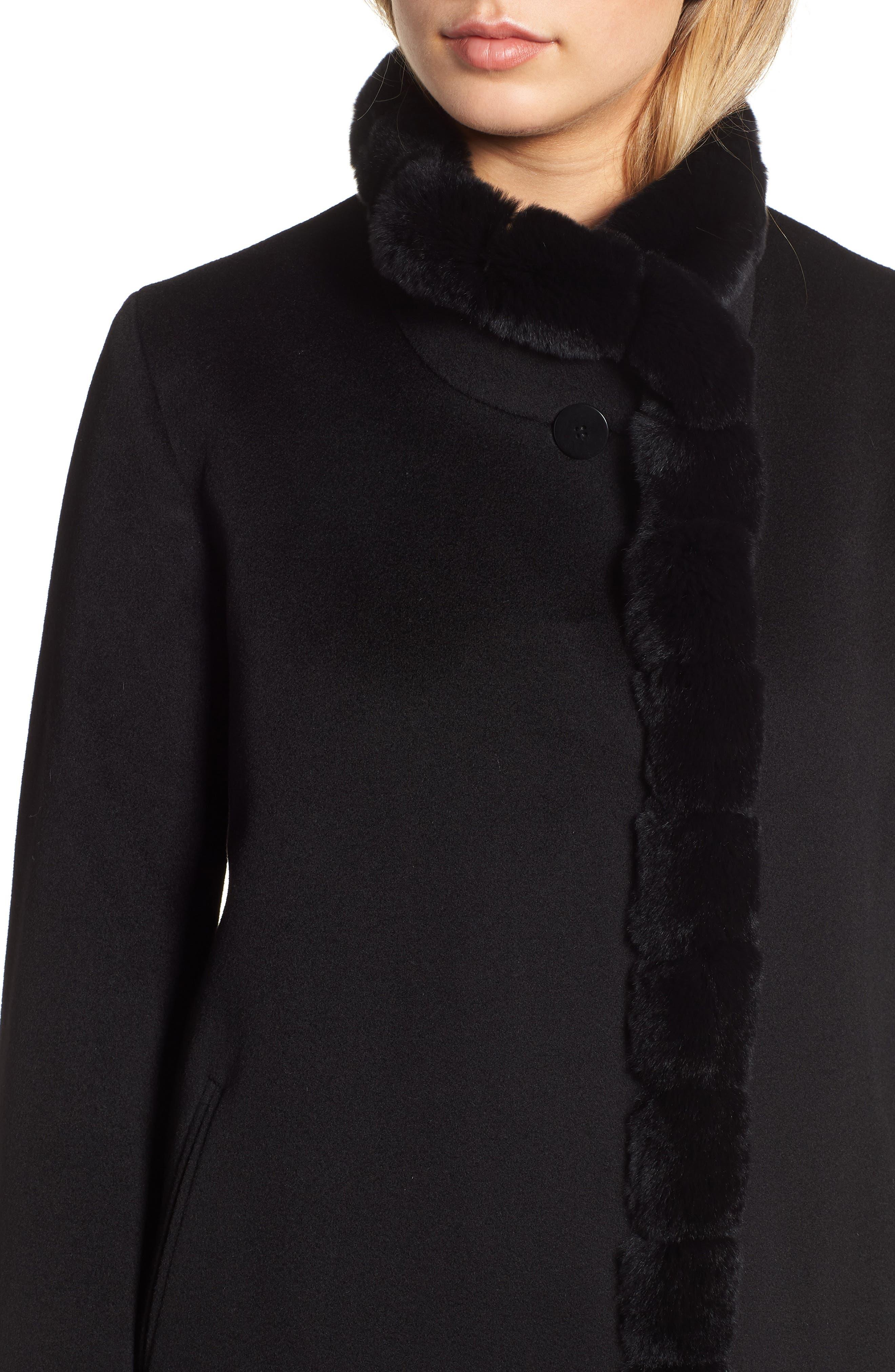 FLEURETTE,                             Loro Piana Wool Car Coat with Genuine Rex Rabbit Fur Trim,                             Alternate thumbnail 4, color,                             001