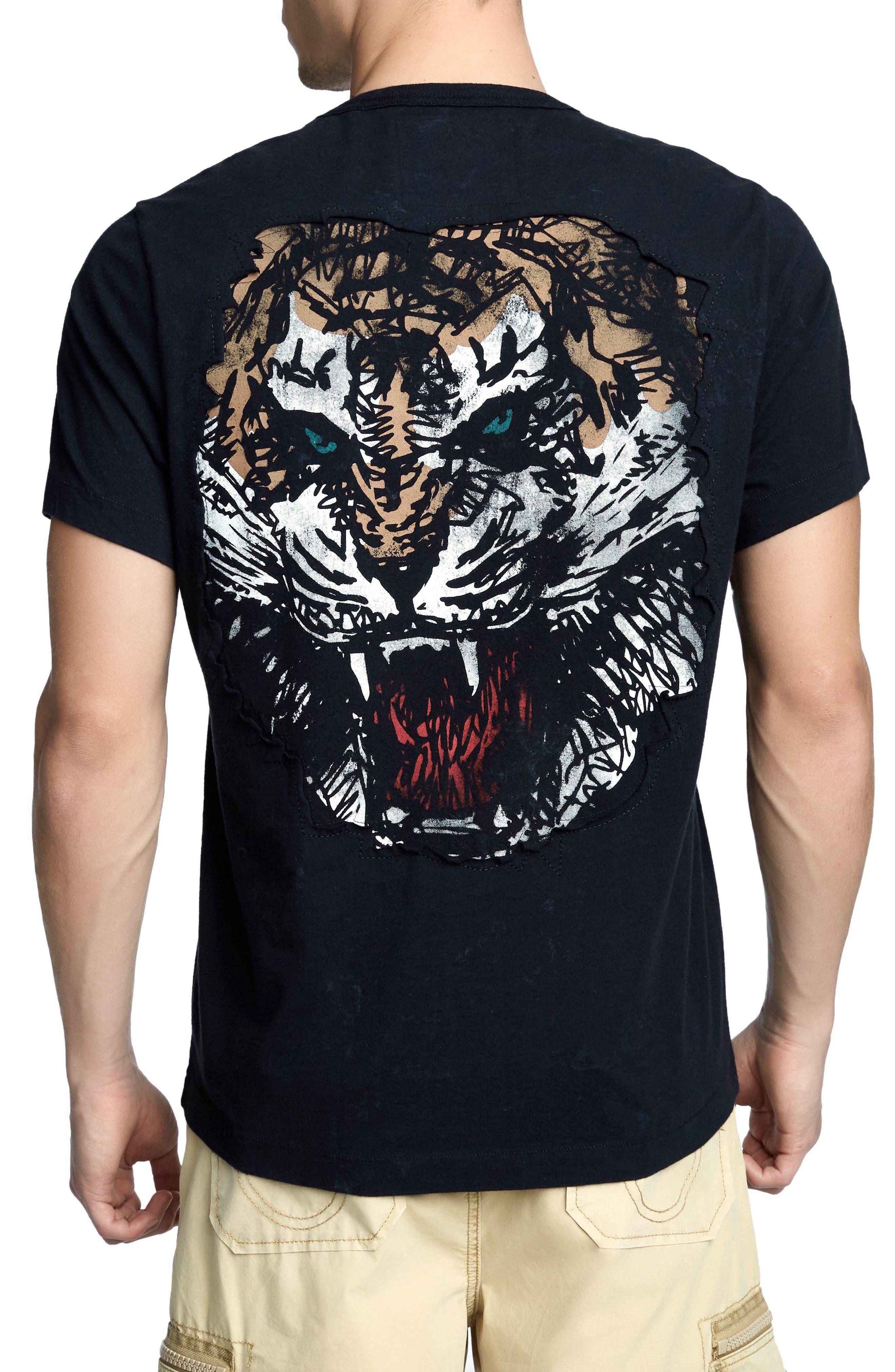 Washed Tiger T-Shirt,                             Alternate thumbnail 2, color,                             TRUE BLACK