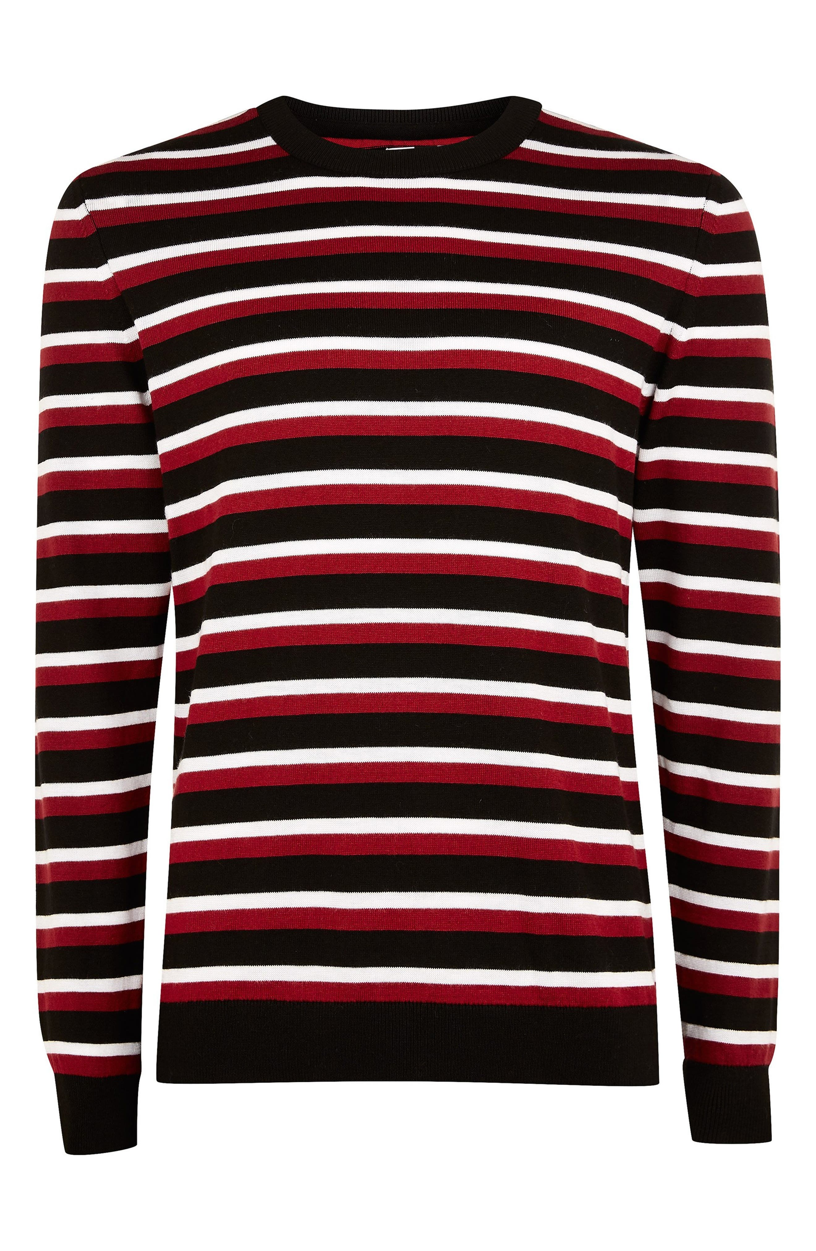 Stripe Crewneck Sweater,                             Alternate thumbnail 3, color,                             RED MULTI