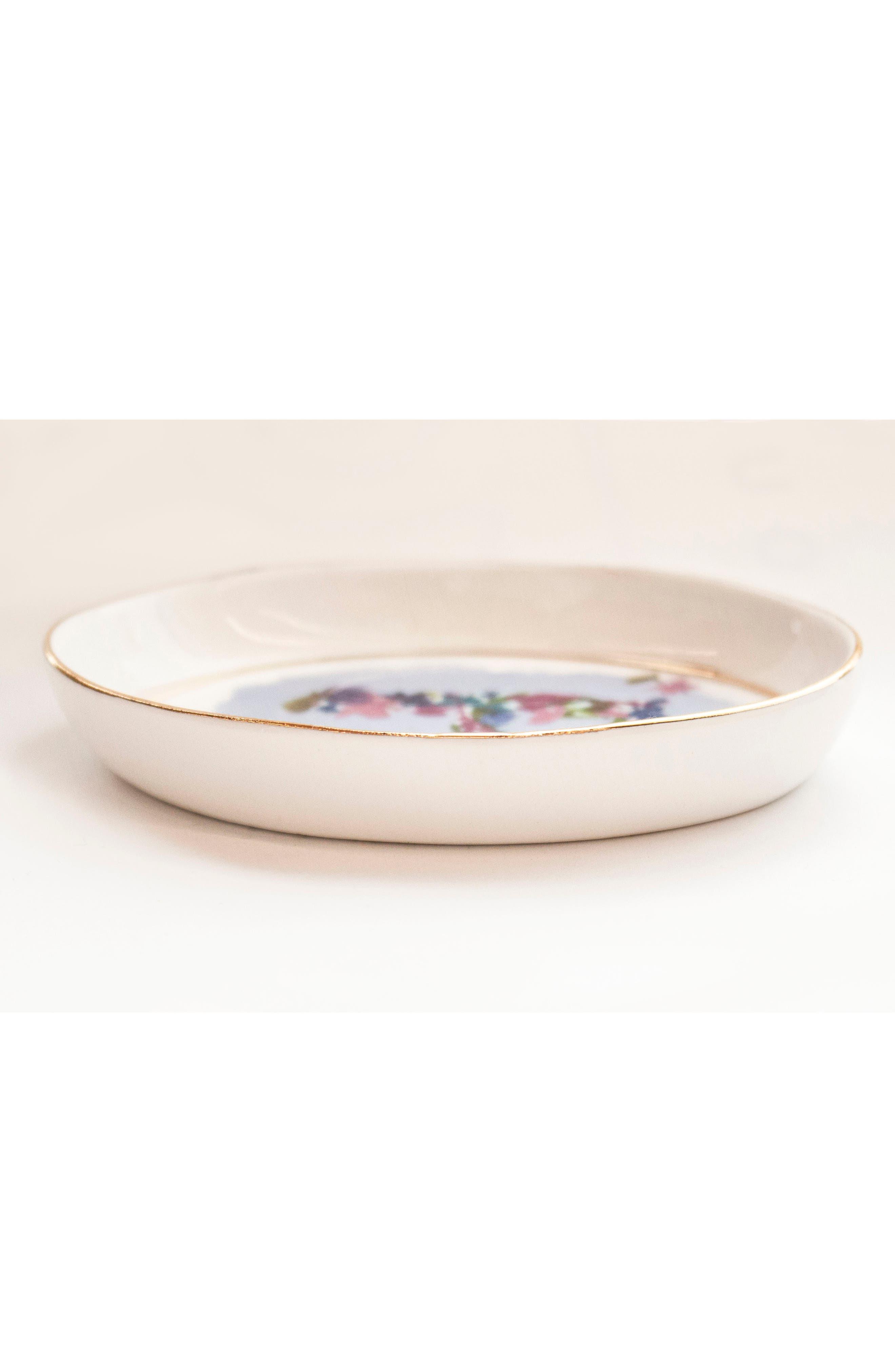 ANTHROPOLOGIE,                             Kiana Mosley Monogram Trinket Dish,                             Alternate thumbnail 3, color,                             100