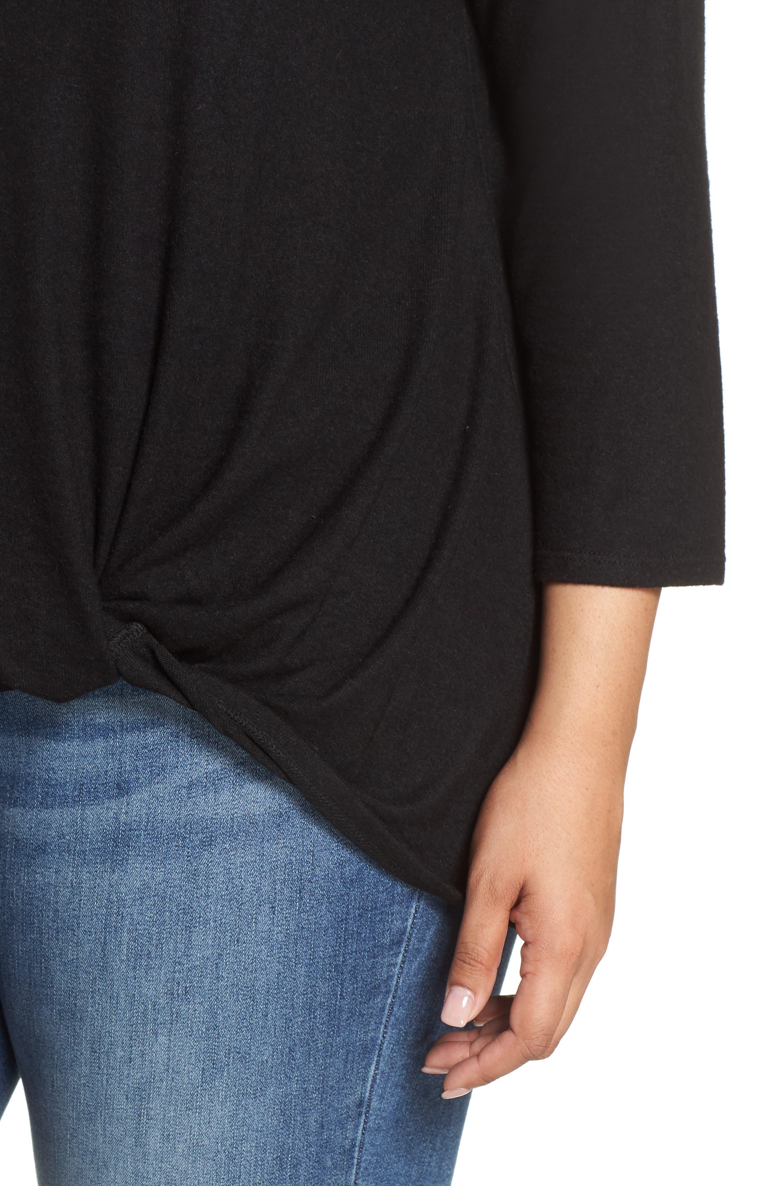 Twist Front Cozy Pullover,                             Alternate thumbnail 4, color,                             BLACK