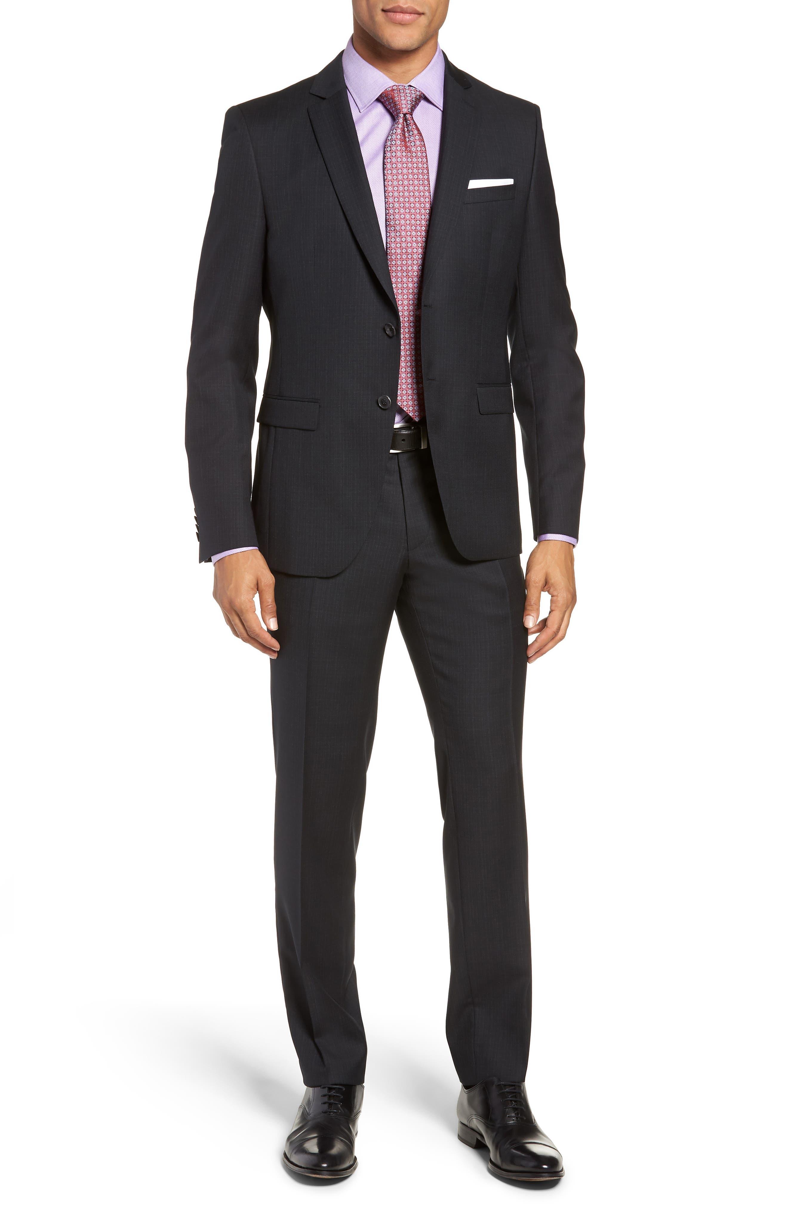 Reymond/Wenten Extra Trim Fit Check Wool Suit,                         Main,                         color, BLACK